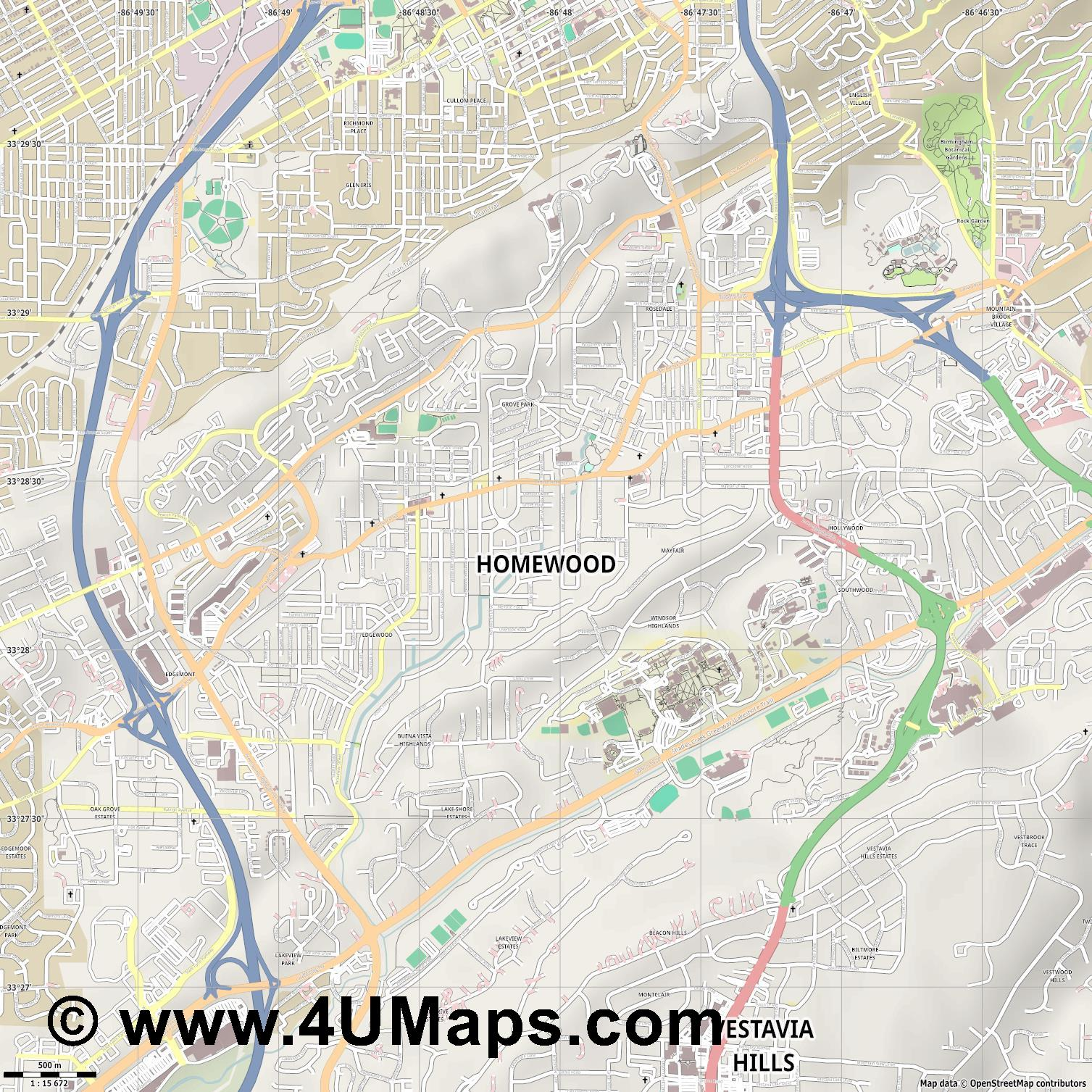 Homewood  jpg ultra high detail preview vector city map