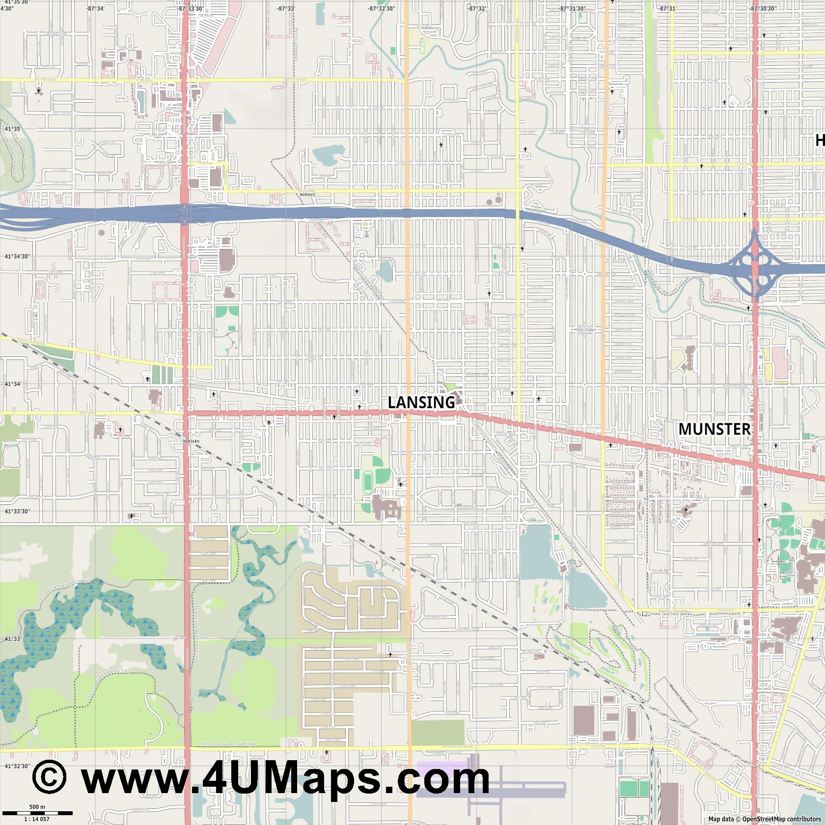 Lansing  jpg ultra high detail preview vector city map