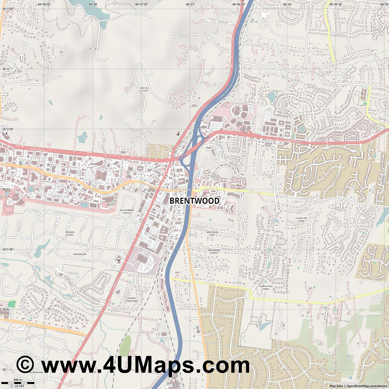 Brentwood  jpg ultra high detail preview vector city map