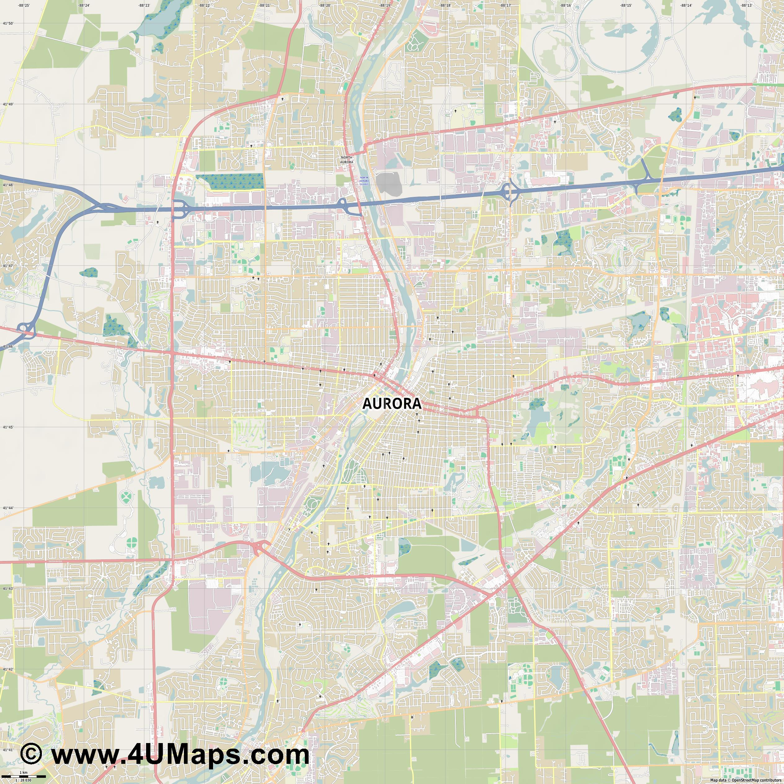 Aurora  jpg high detail, large area preview vector city map
