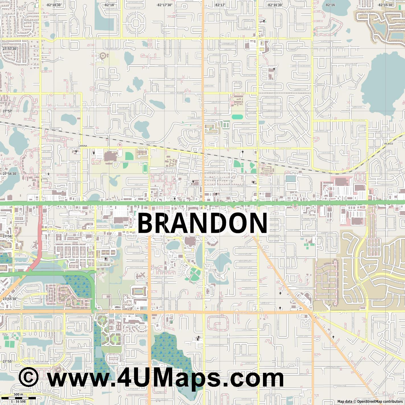 Brandon  jpg ultra high detail preview vector city map