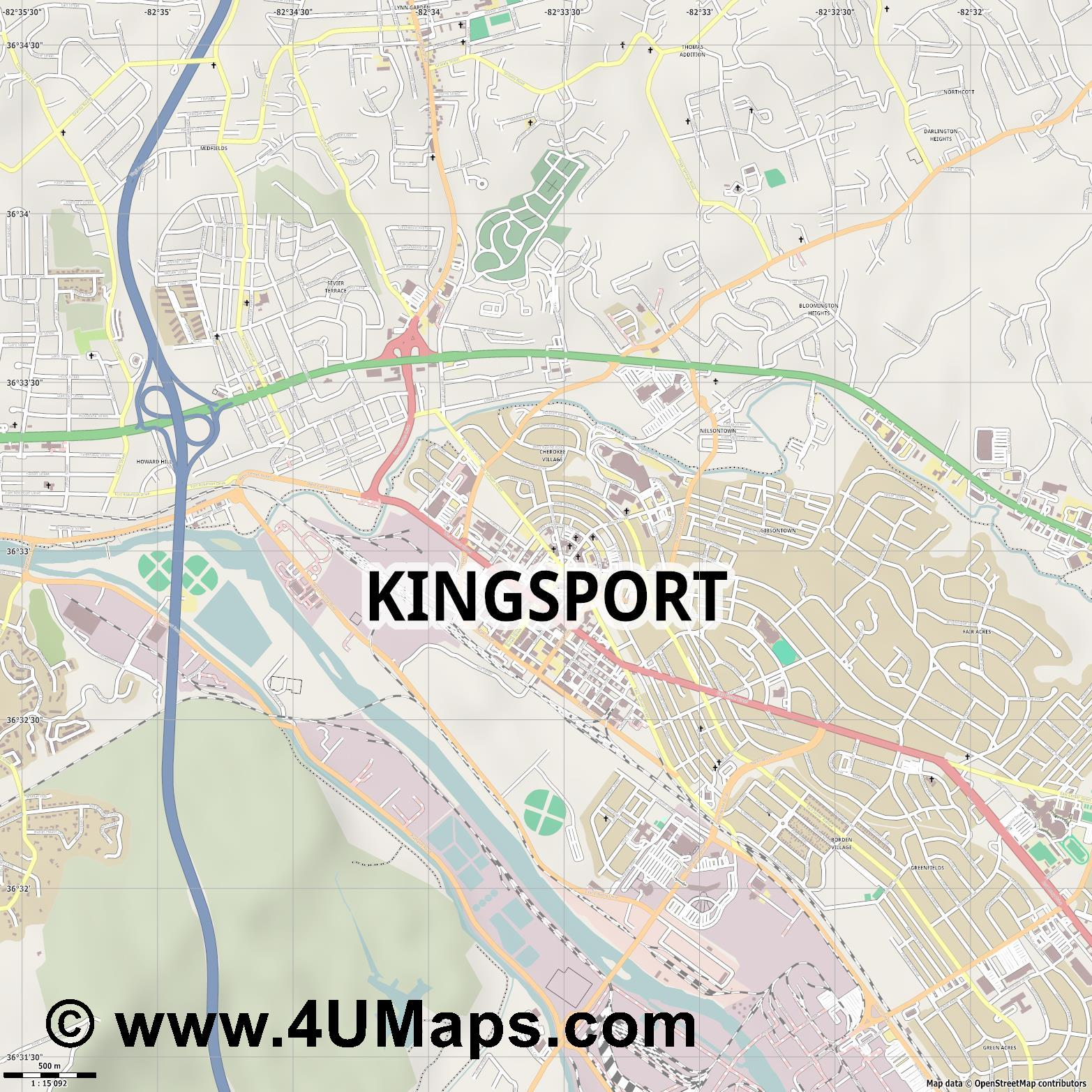 Kingsport  jpg ultra high detail preview vector city map