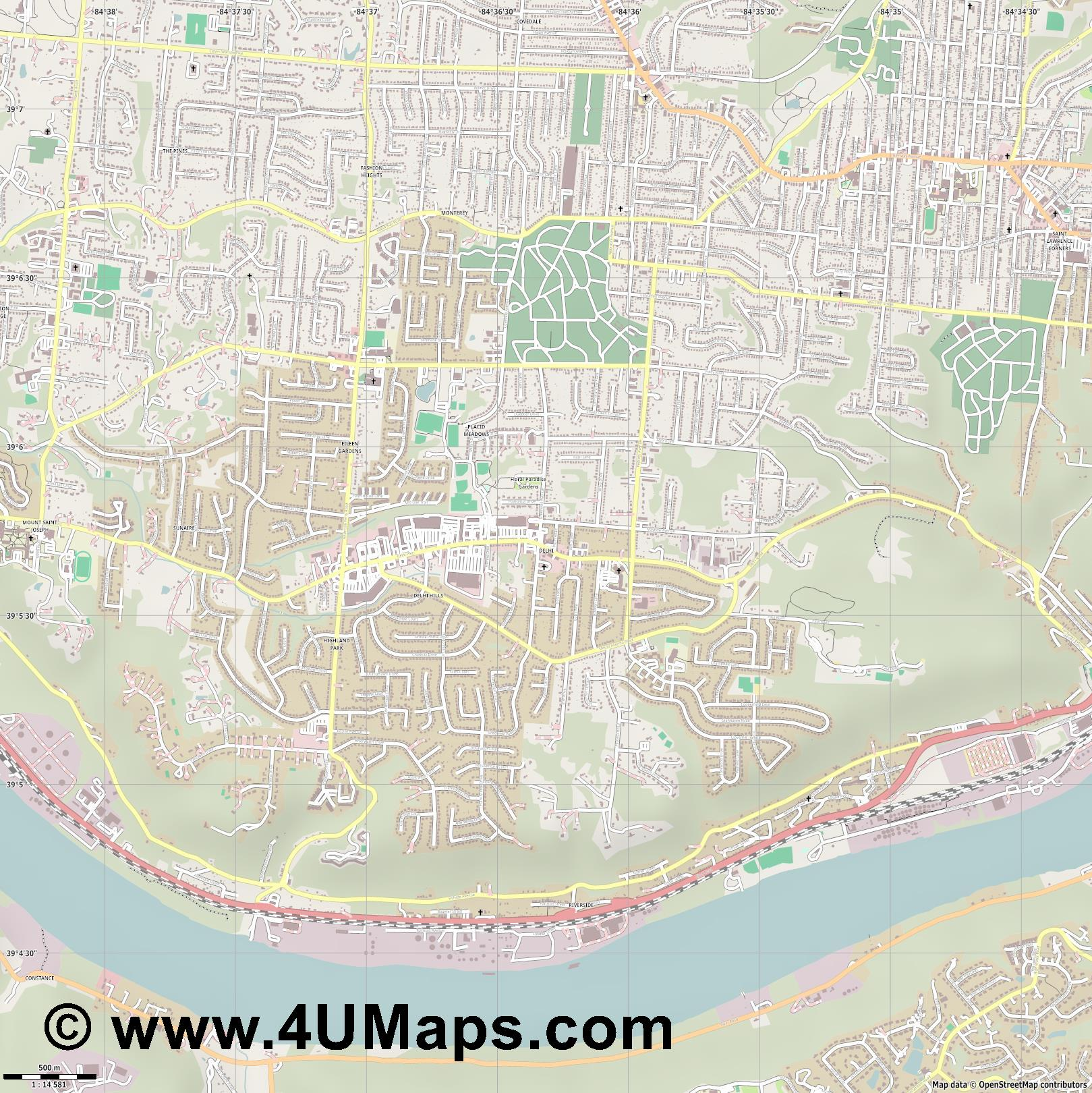 Delhi  jpg ultra high detail preview vector city map
