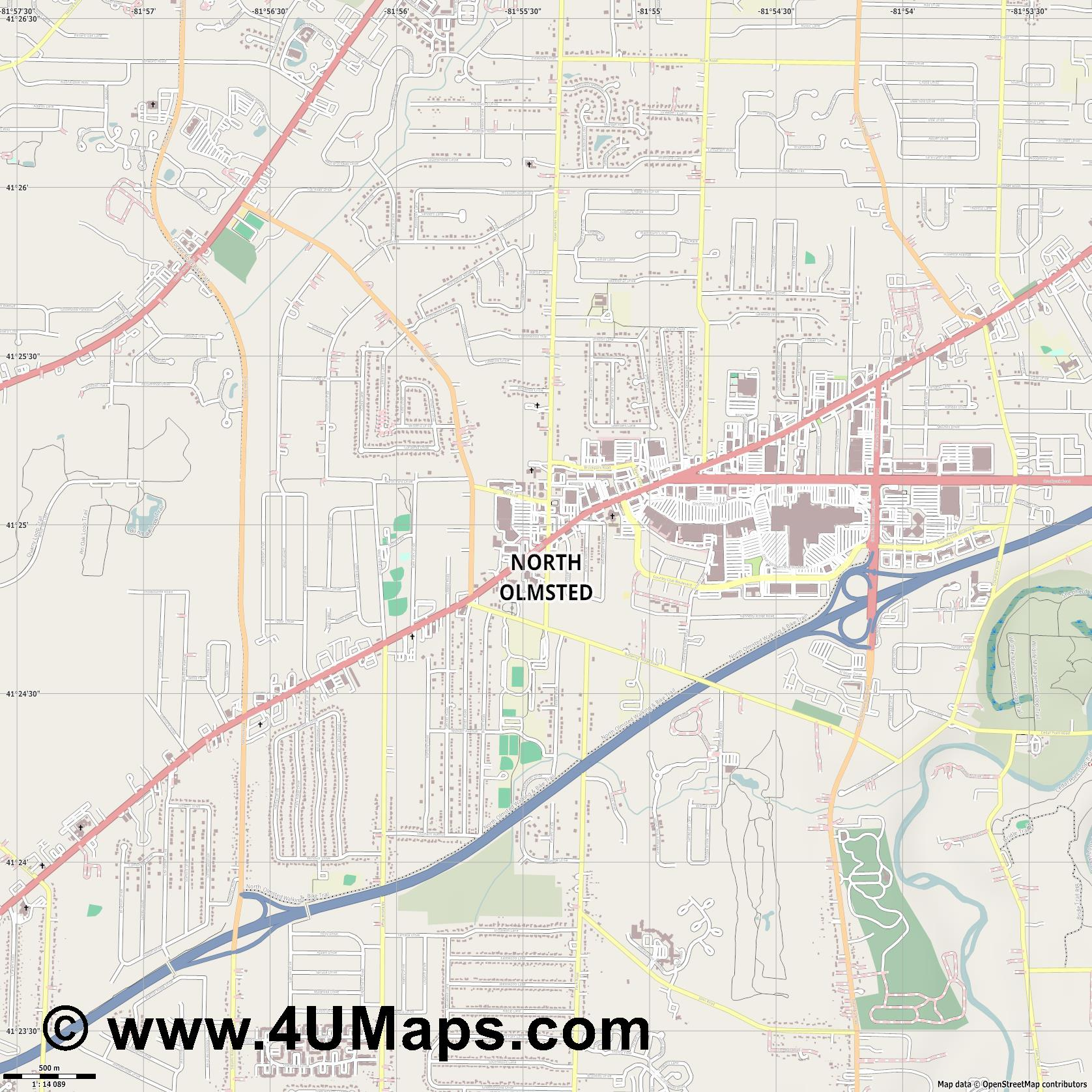 North Olmsted  jpg ultra high detail preview vector city map