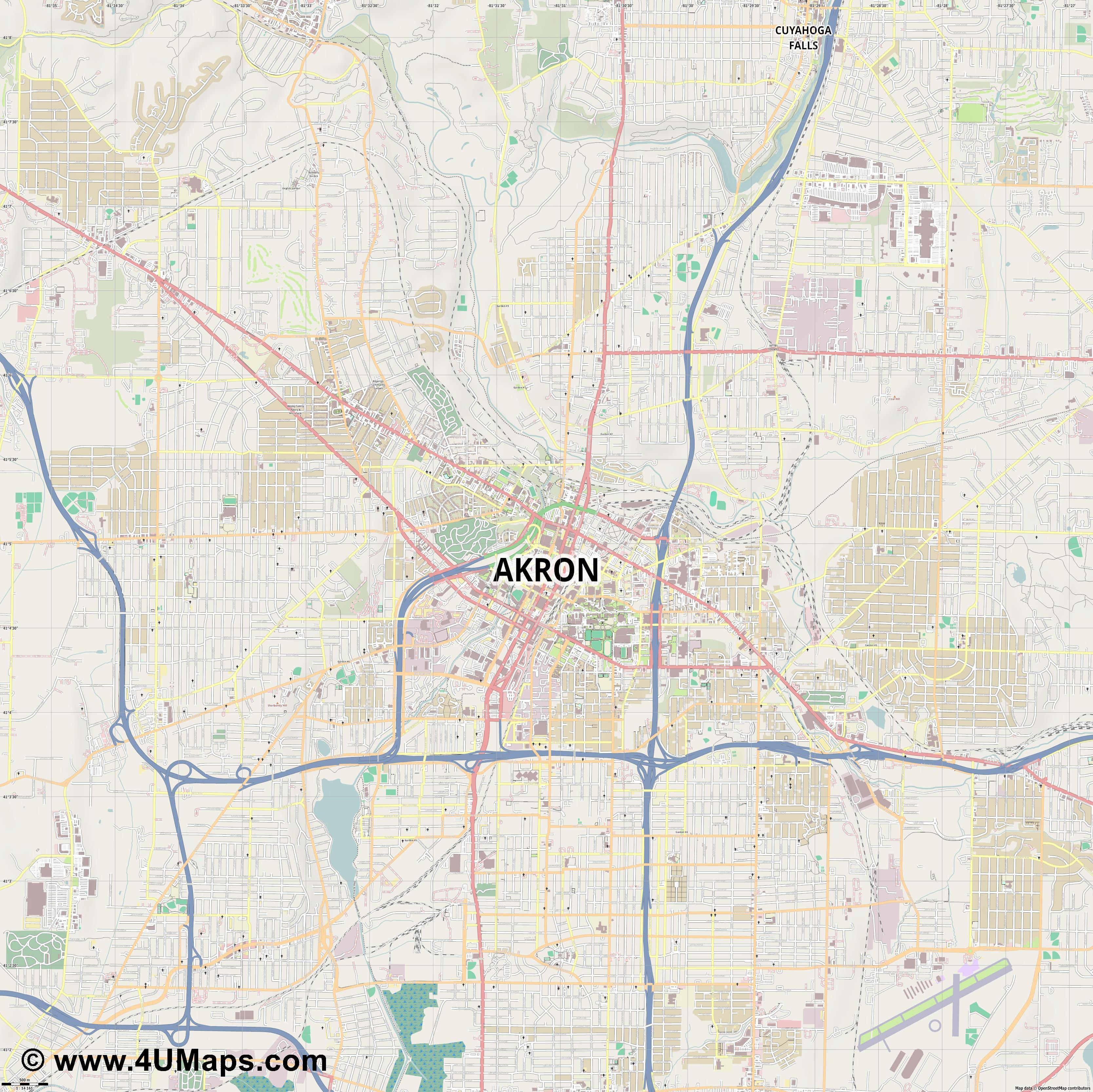 Akron  jpg ultra high detail preview vector city map
