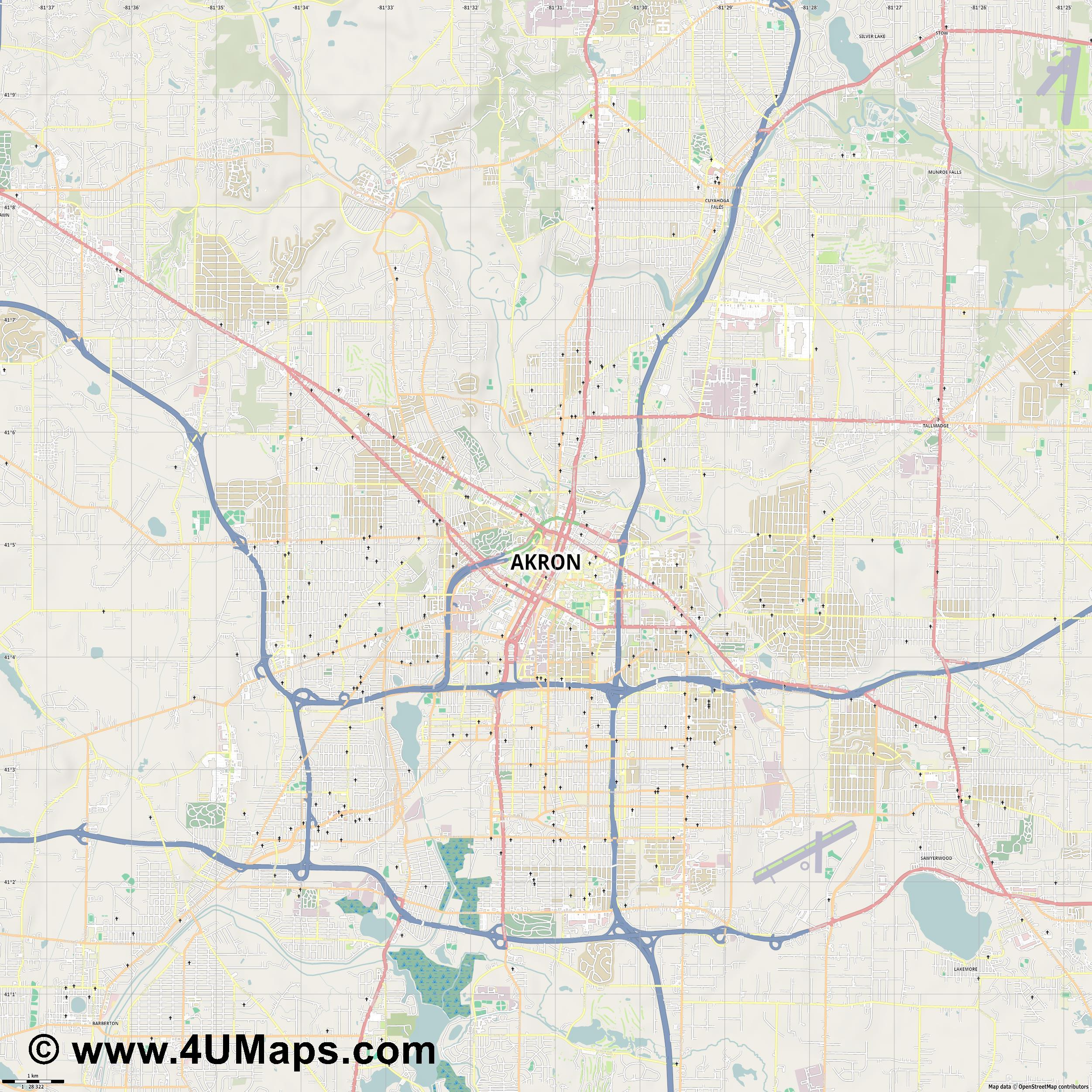 Akron  jpg high detail, large area preview vector city map
