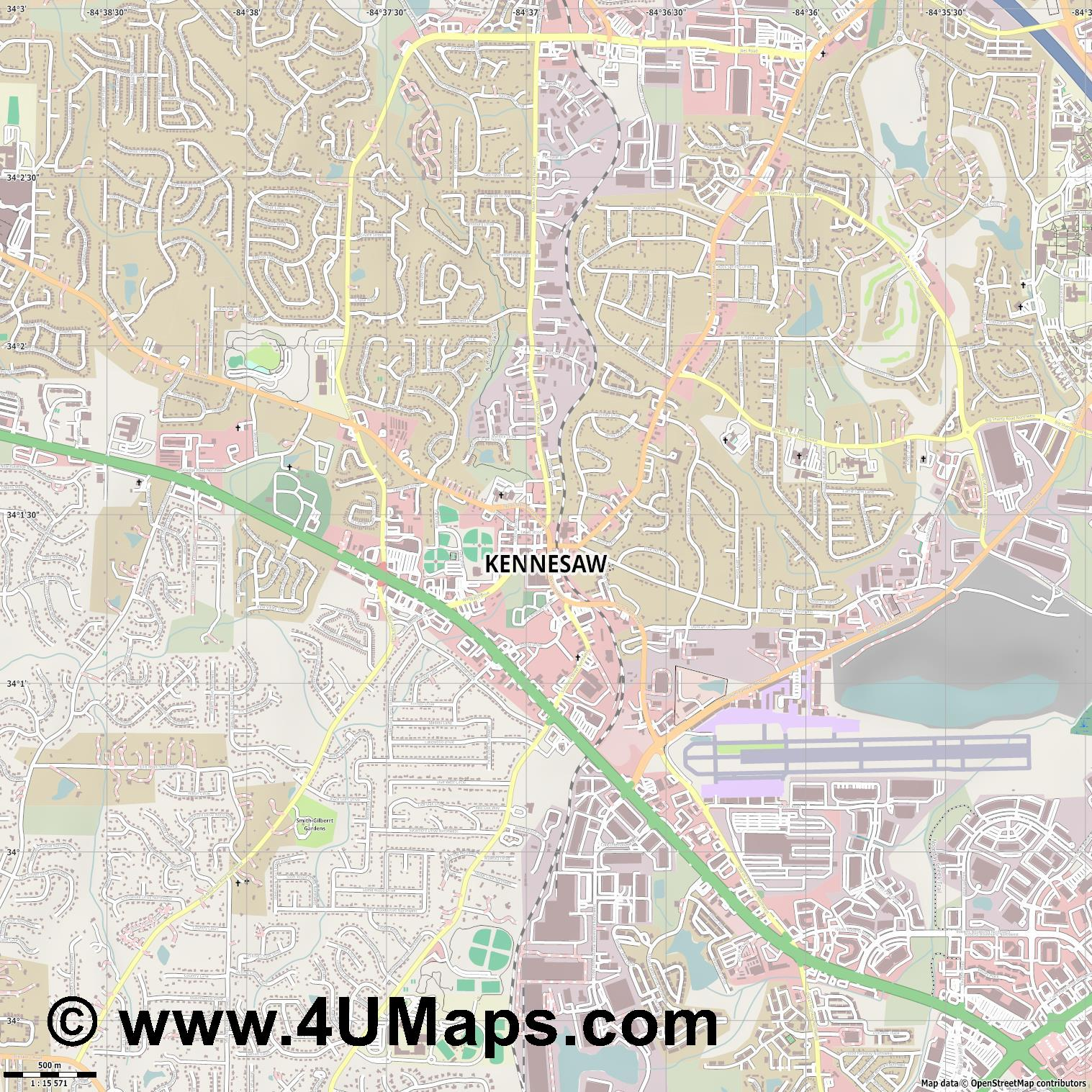 Kennesaw  jpg ultra high detail preview vector city map