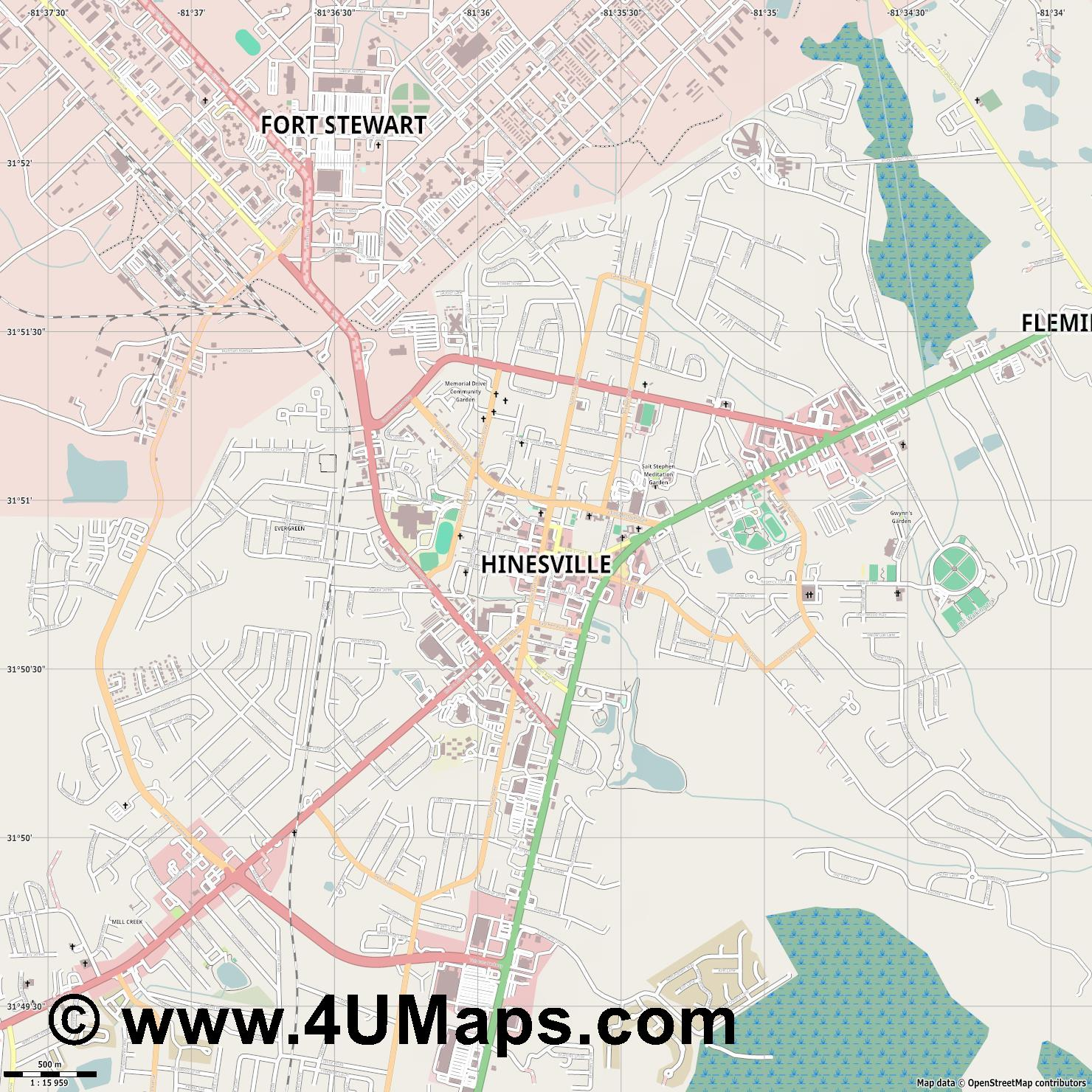 Hinesville  jpg ultra high detail preview vector city map