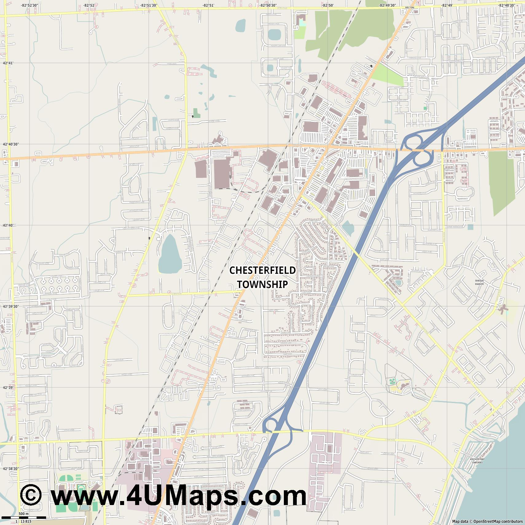 Chesterfield Township  jpg ultra high detail preview vector city map