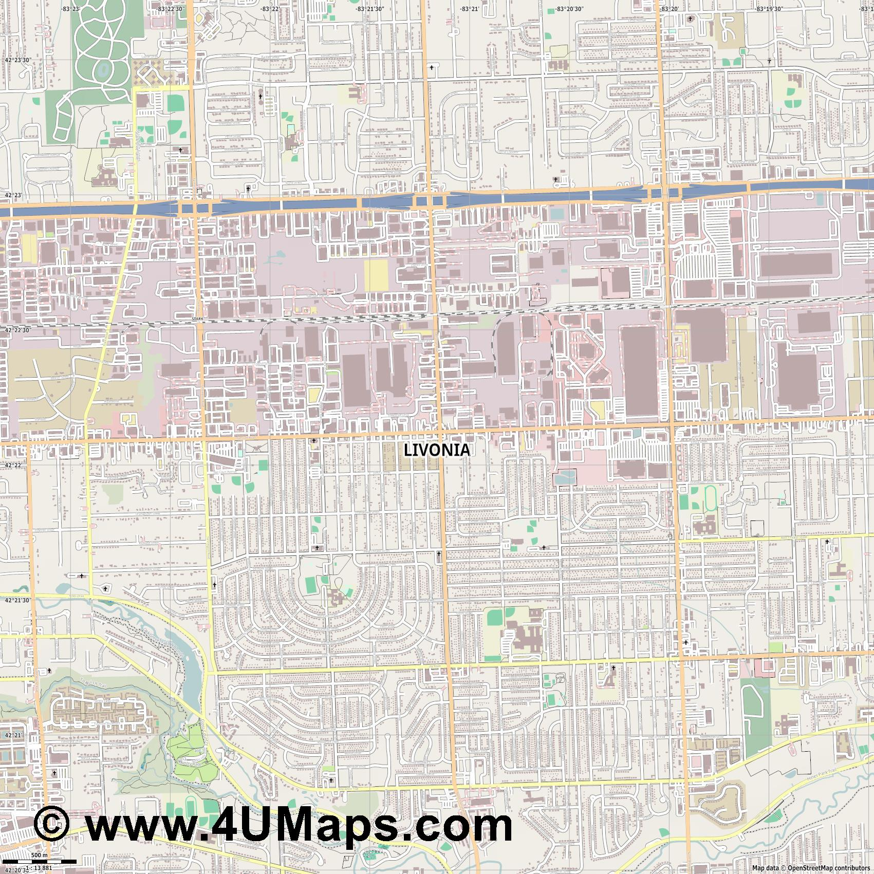 Livonia  jpg ultra high detail preview vector city map
