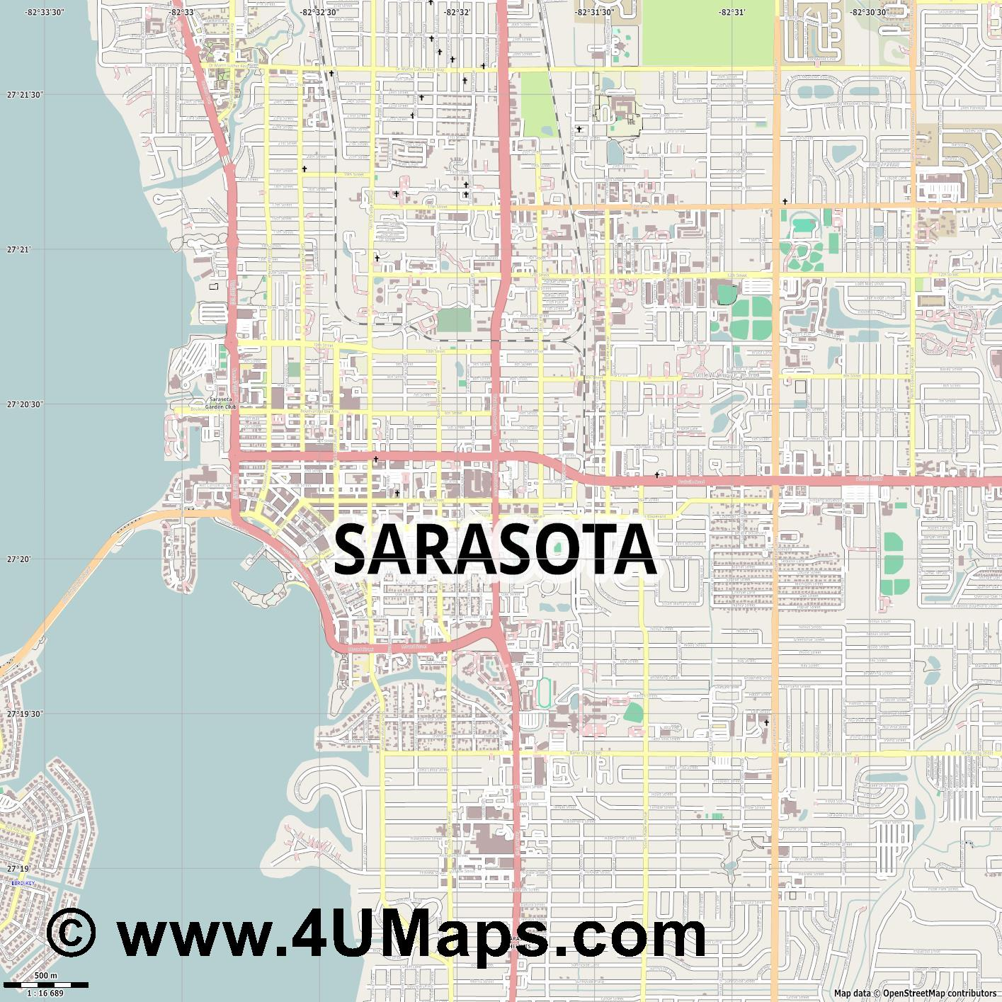 Sarasota  jpg ultra high detail preview vector city map