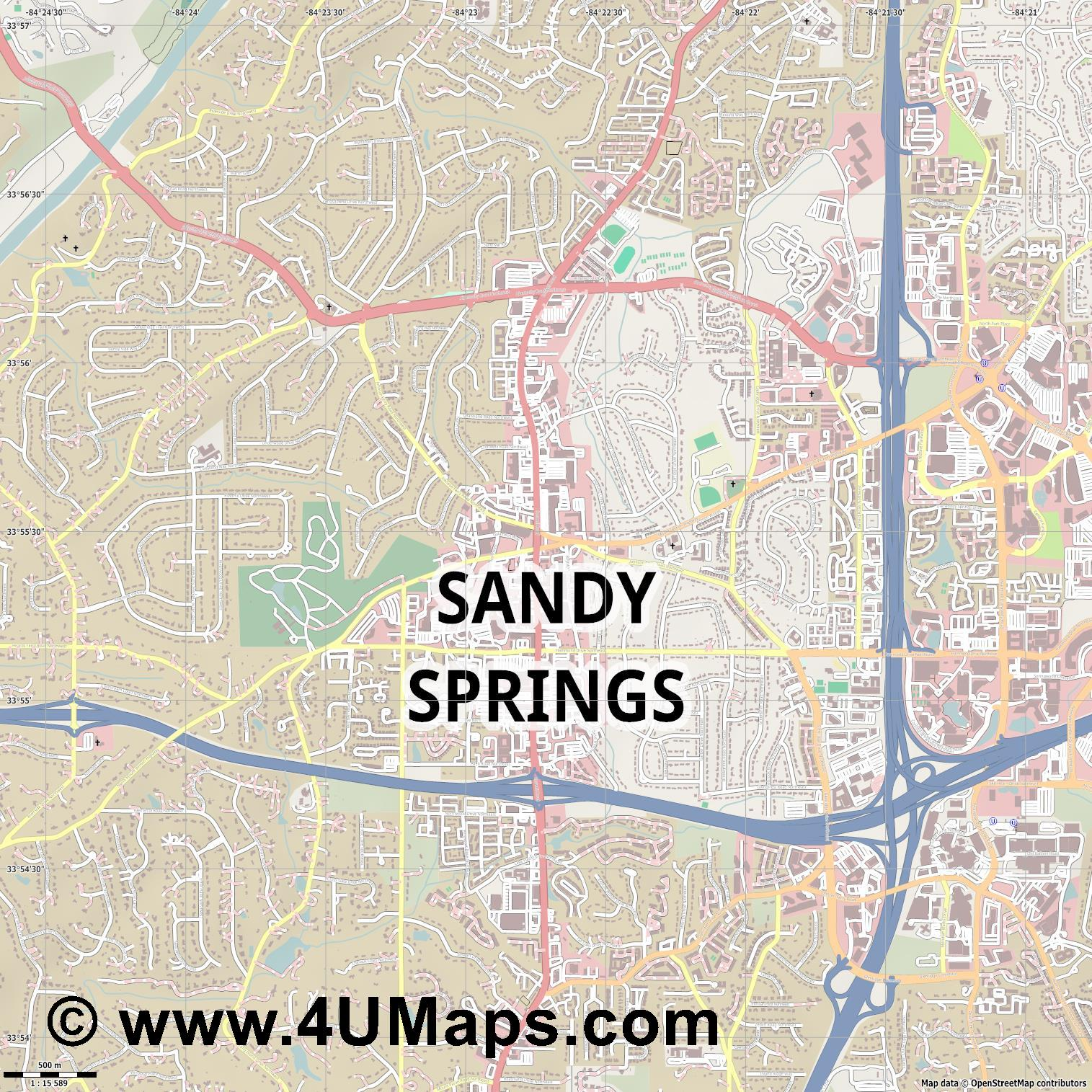 Sandy Springs  jpg ultra high detail preview vector city map