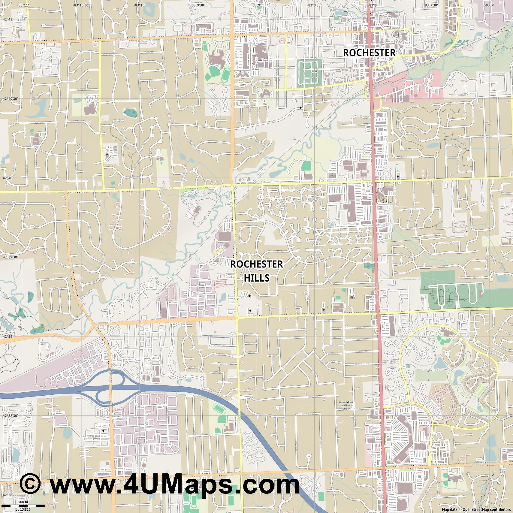 Rochester Hills  jpg ultra high detail preview vector city map