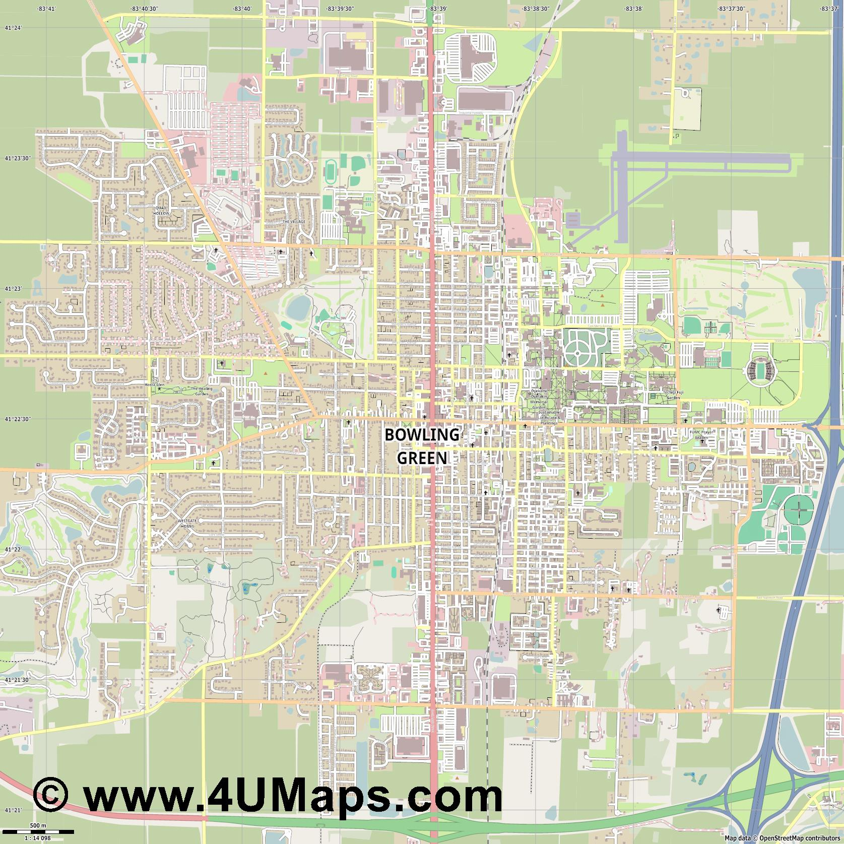 Bowling Green  jpg ultra high detail preview vector city map