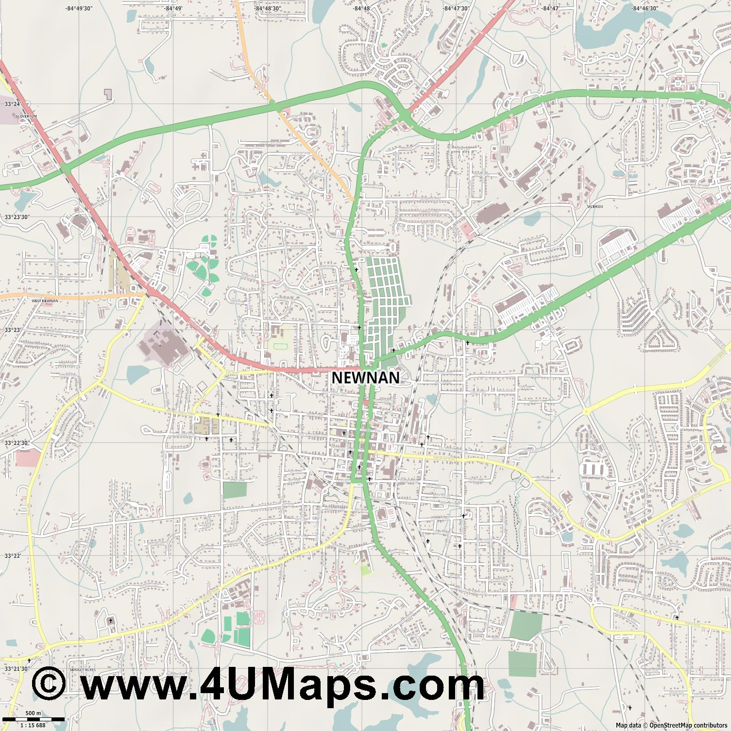 Newnan  jpg ultra high detail preview vector city map