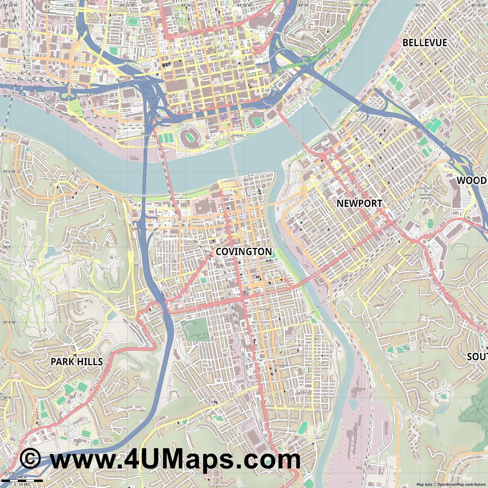 Covington  jpg ultra high detail preview vector city map