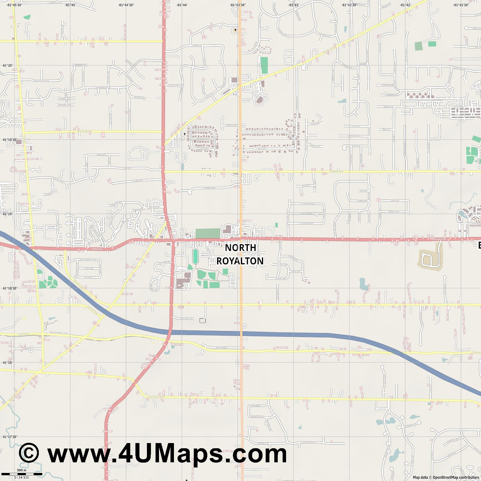 North Royalton  jpg ultra high detail preview vector city map