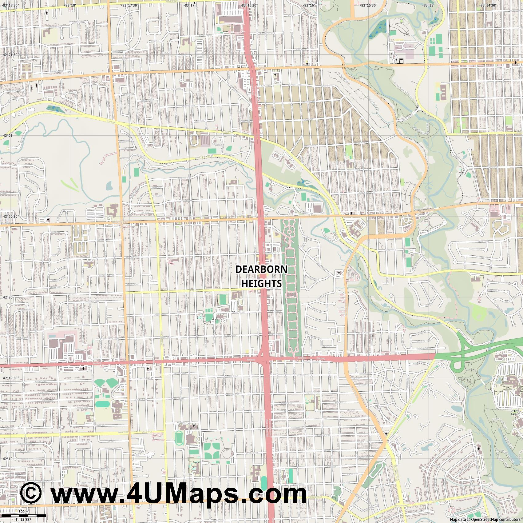 Dearborn Heights  jpg ultra high detail preview vector city map