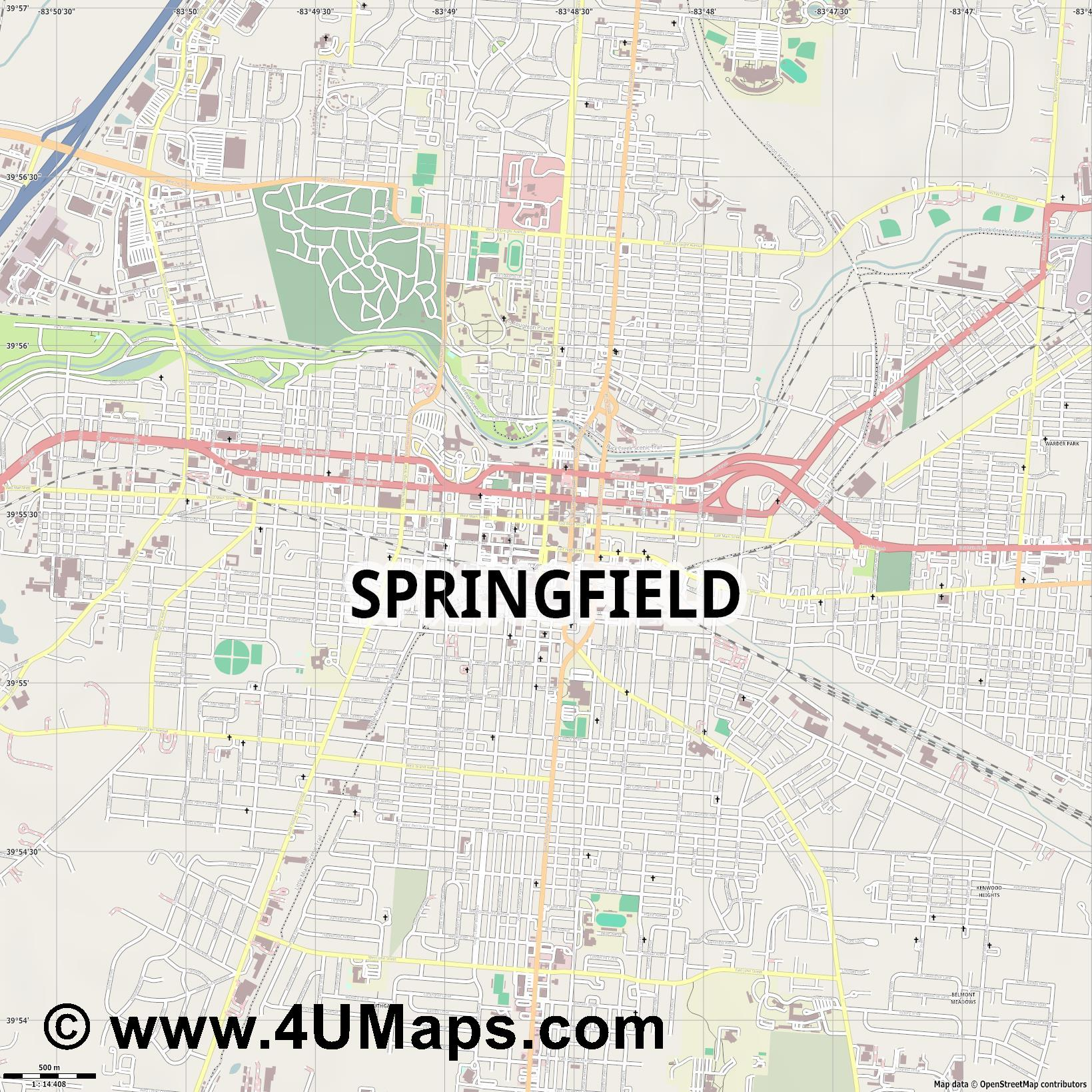 Springfield  jpg ultra high detail preview vector city map