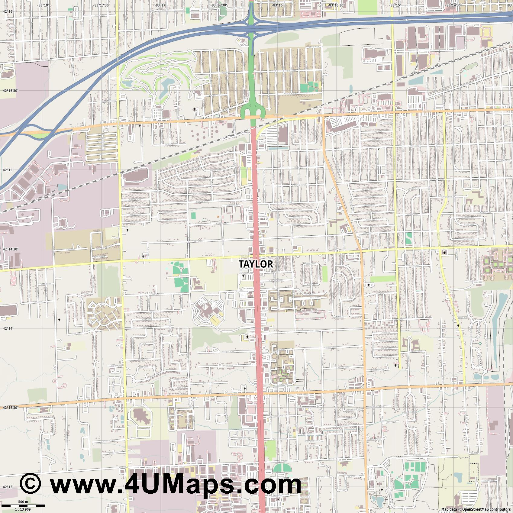Taylor  jpg ultra high detail preview vector city map
