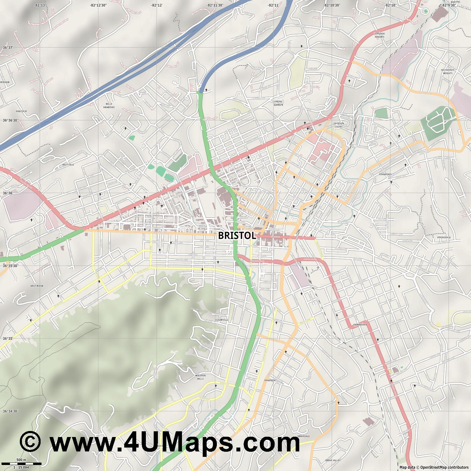 Bristol  jpg ultra high detail preview vector city map