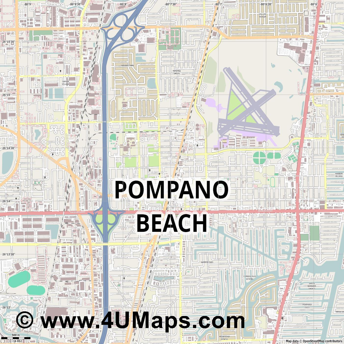 Pompano Beach  jpg ultra high detail preview vector city map