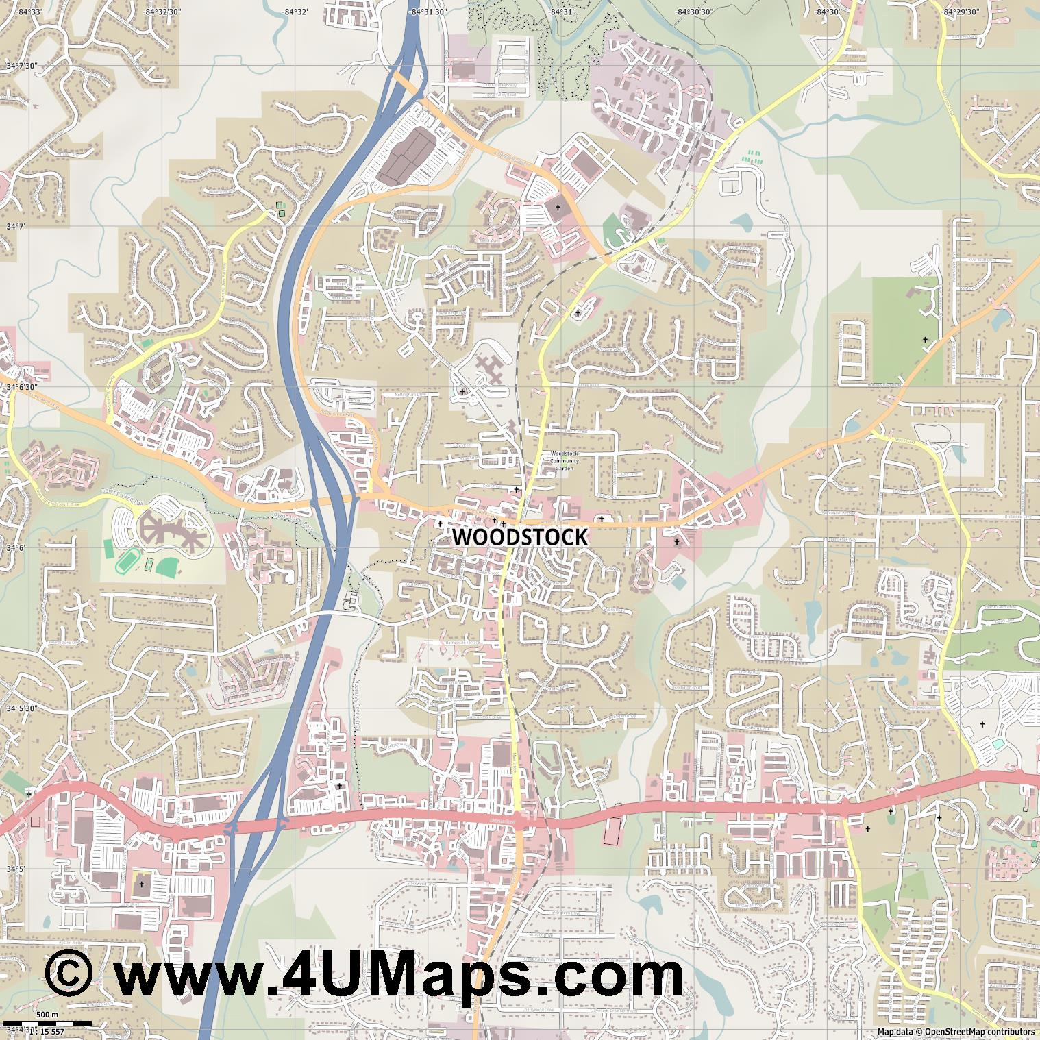 Woodstock  jpg ultra high detail preview vector city map