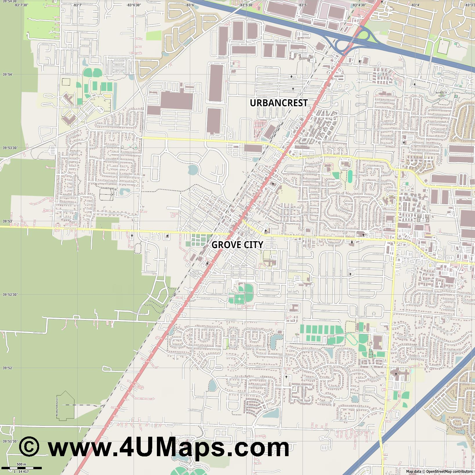 Grove City  jpg ultra high detail preview vector city map
