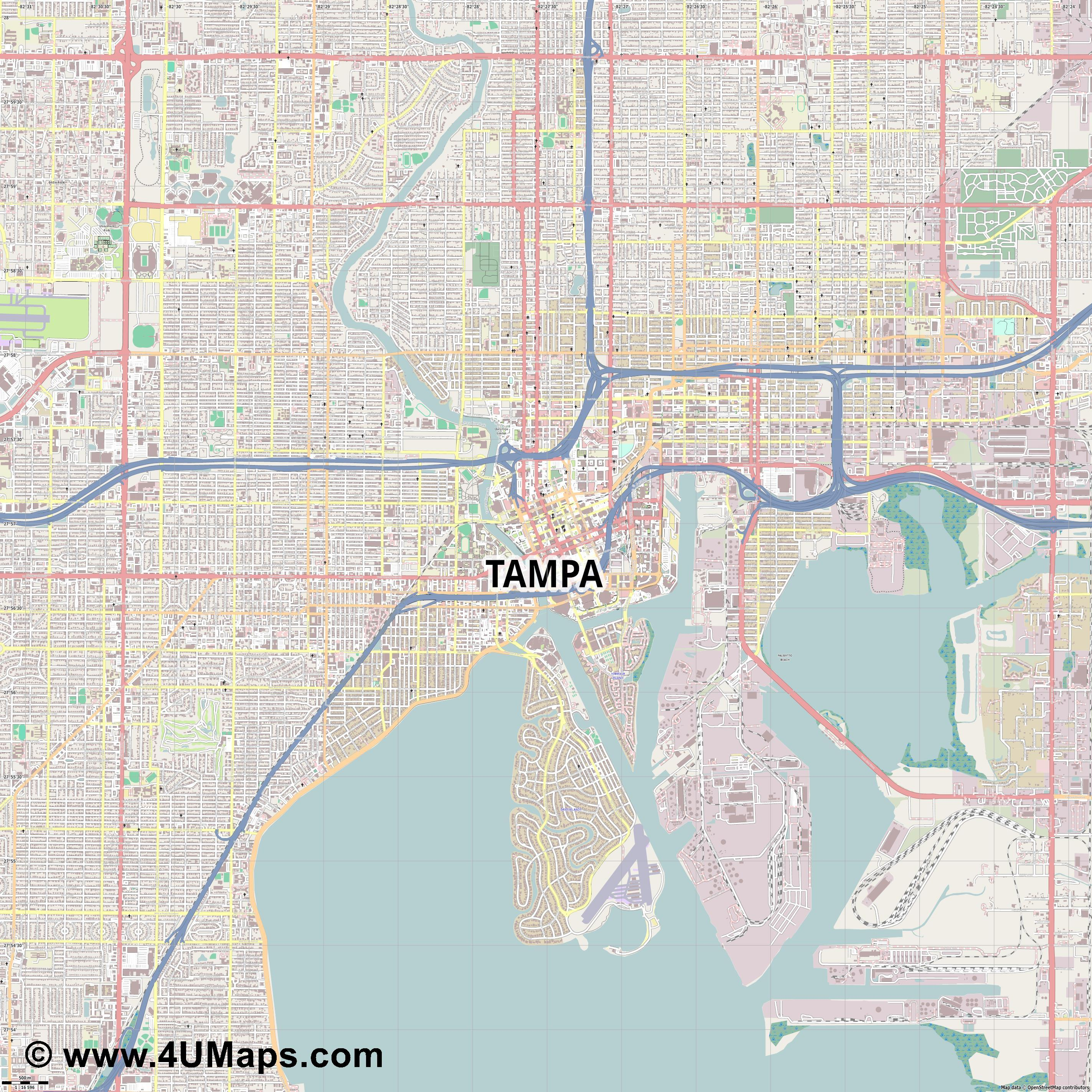 Tampa  jpg ultra high detail preview vector city map