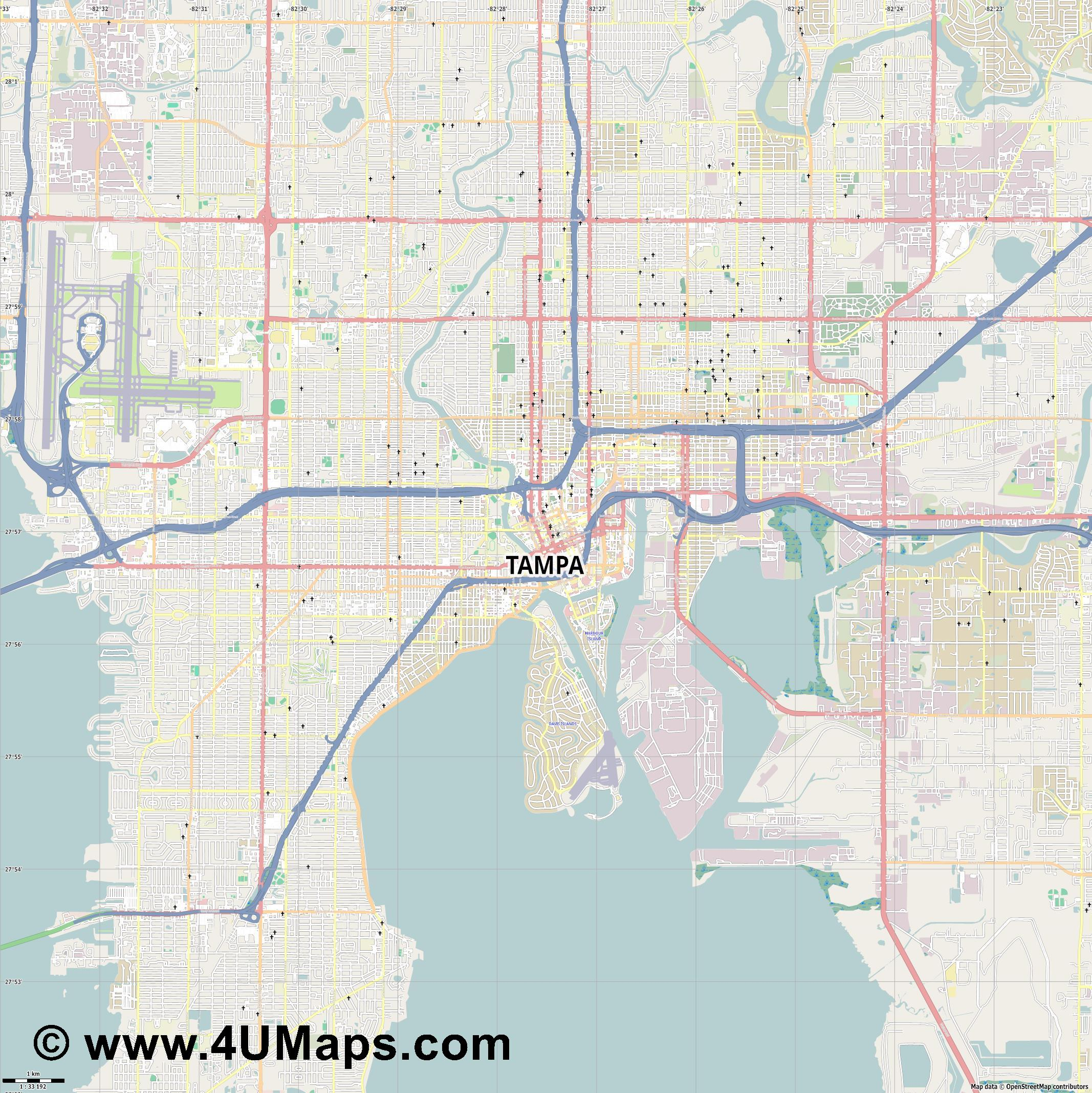 Tampa  jpg high detail, large area preview vector city map