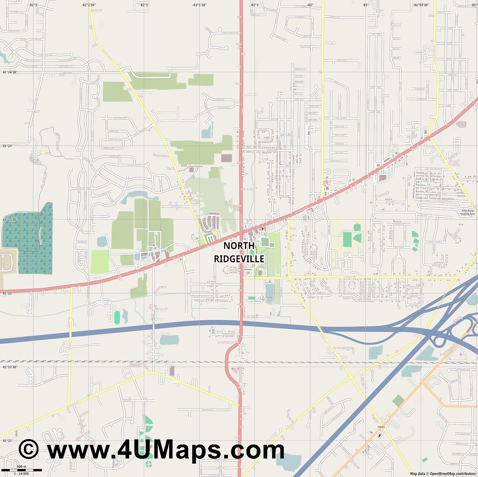North Ridgeville  jpg ultra high detail preview vector city map