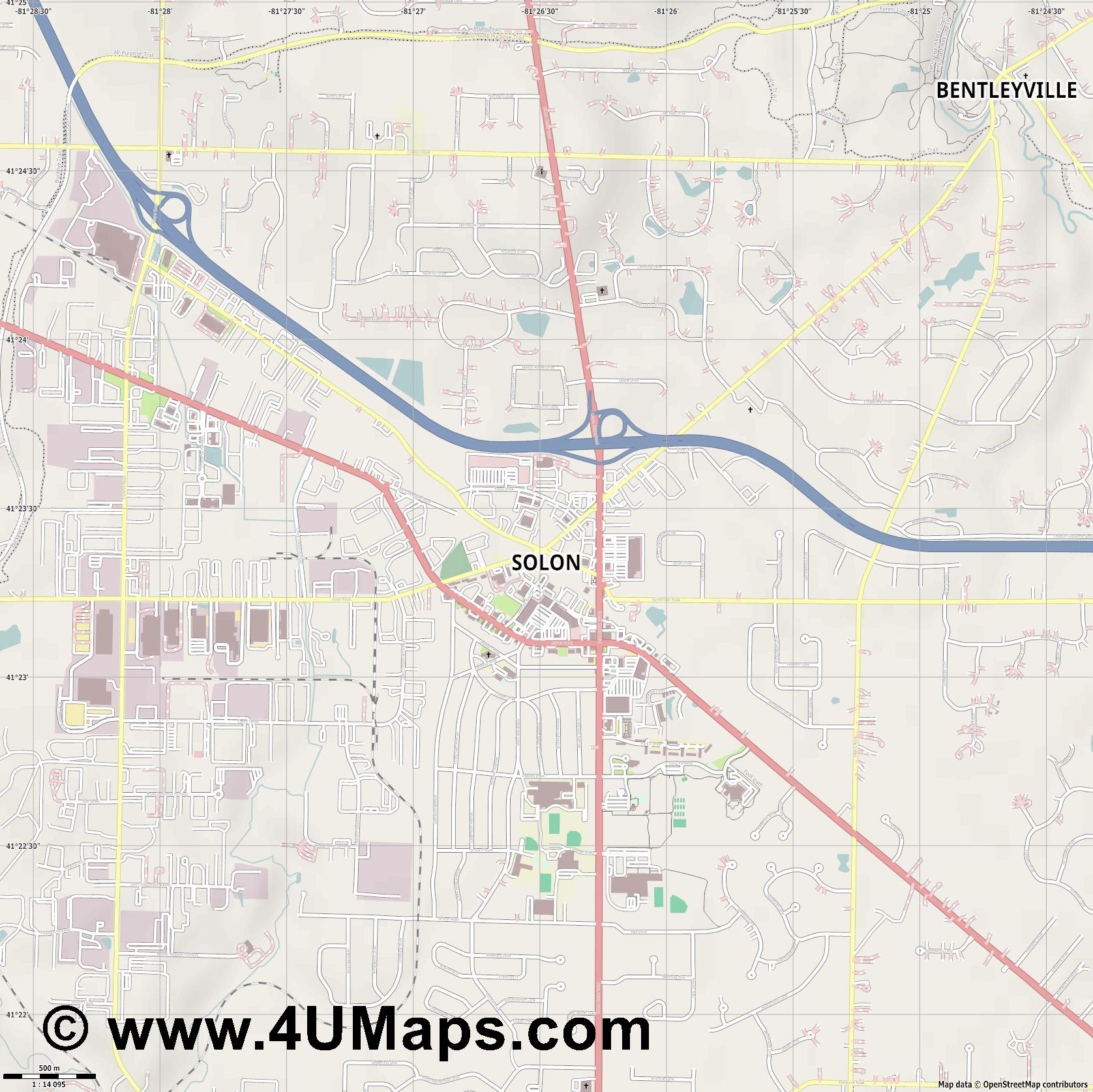 Solon  jpg ultra high detail preview vector city map