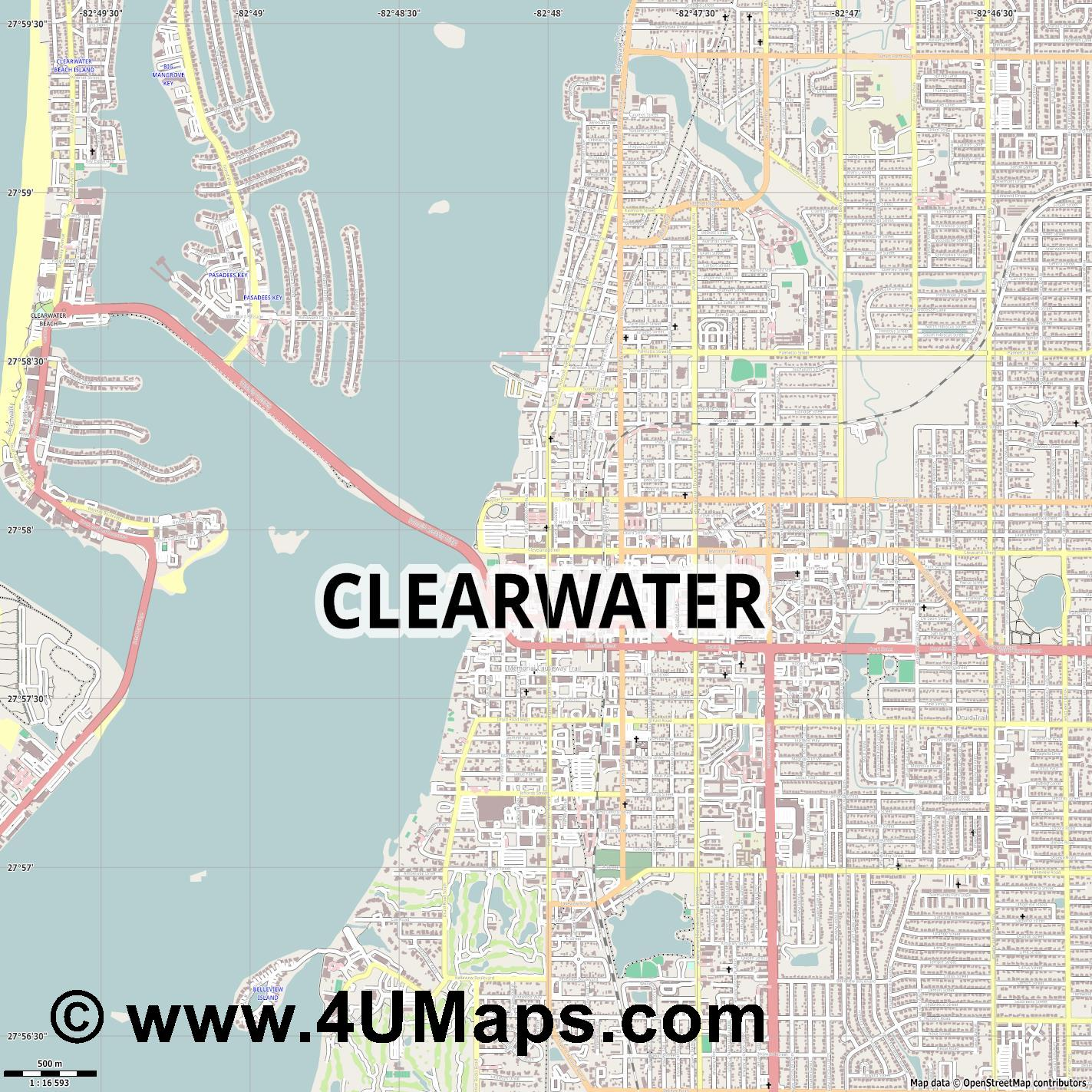 Clearwater  jpg ultra high detail preview vector city map