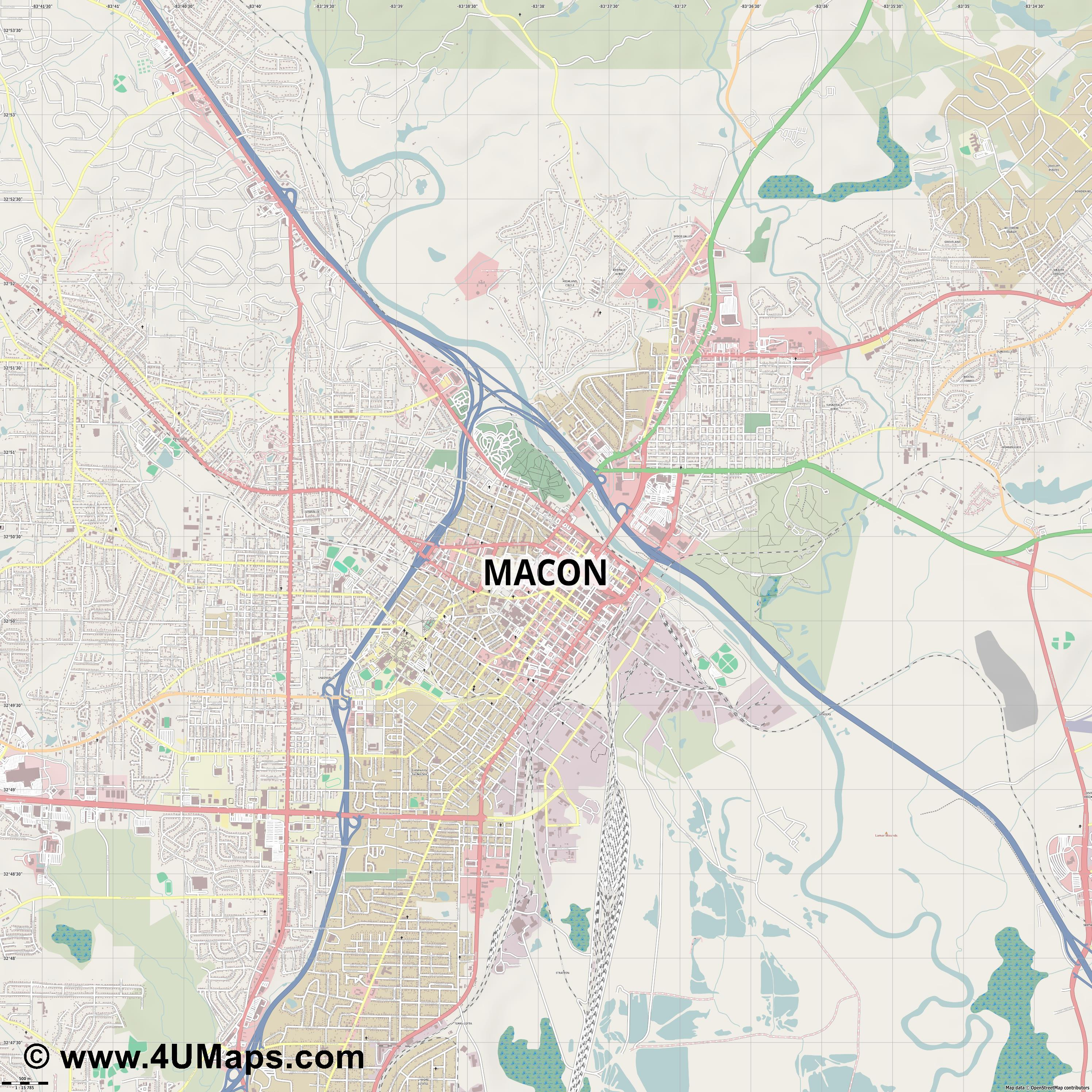 Macon  jpg ultra high detail preview vector city map