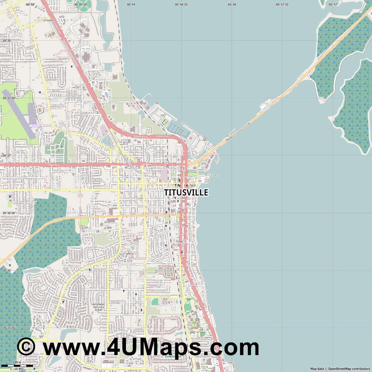 Titusville  jpg ultra high detail preview vector city map