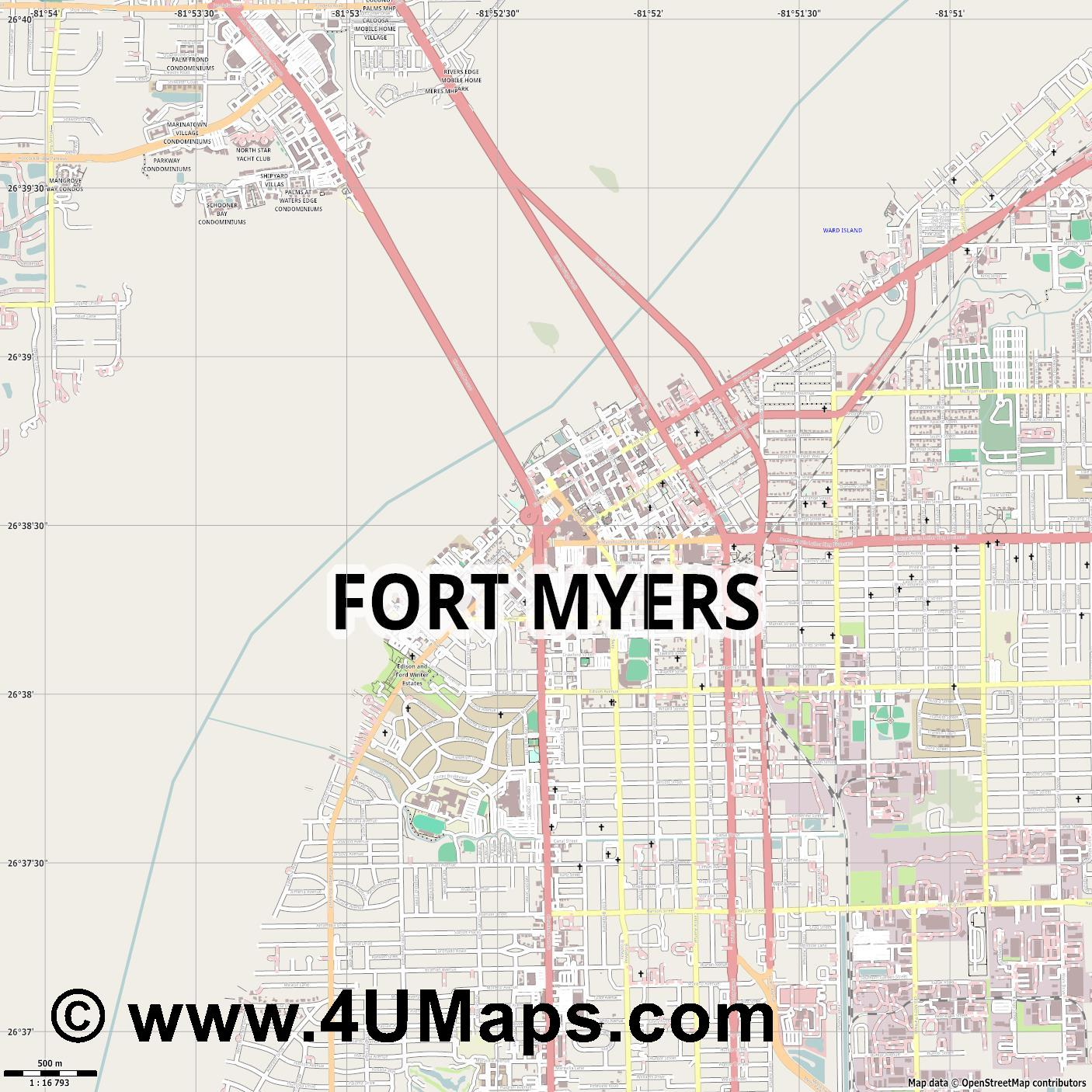 Fort Myers  jpg ultra high detail preview vector city map