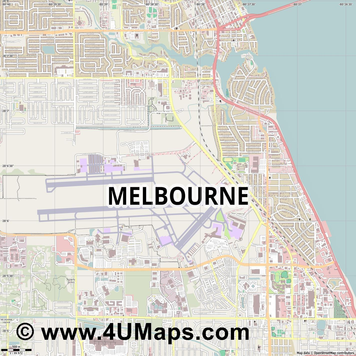 Melbourne  jpg ultra high detail preview vector city map