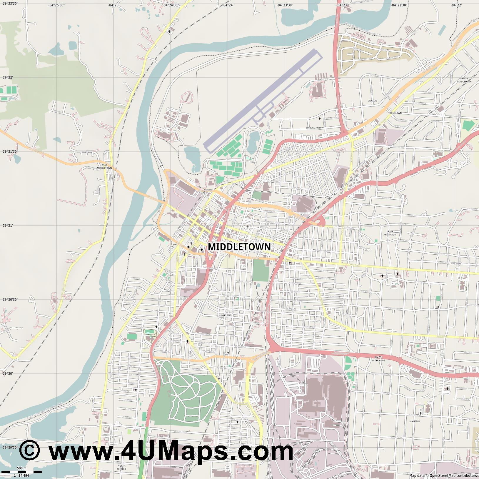 Middletown  jpg ultra high detail preview vector city map