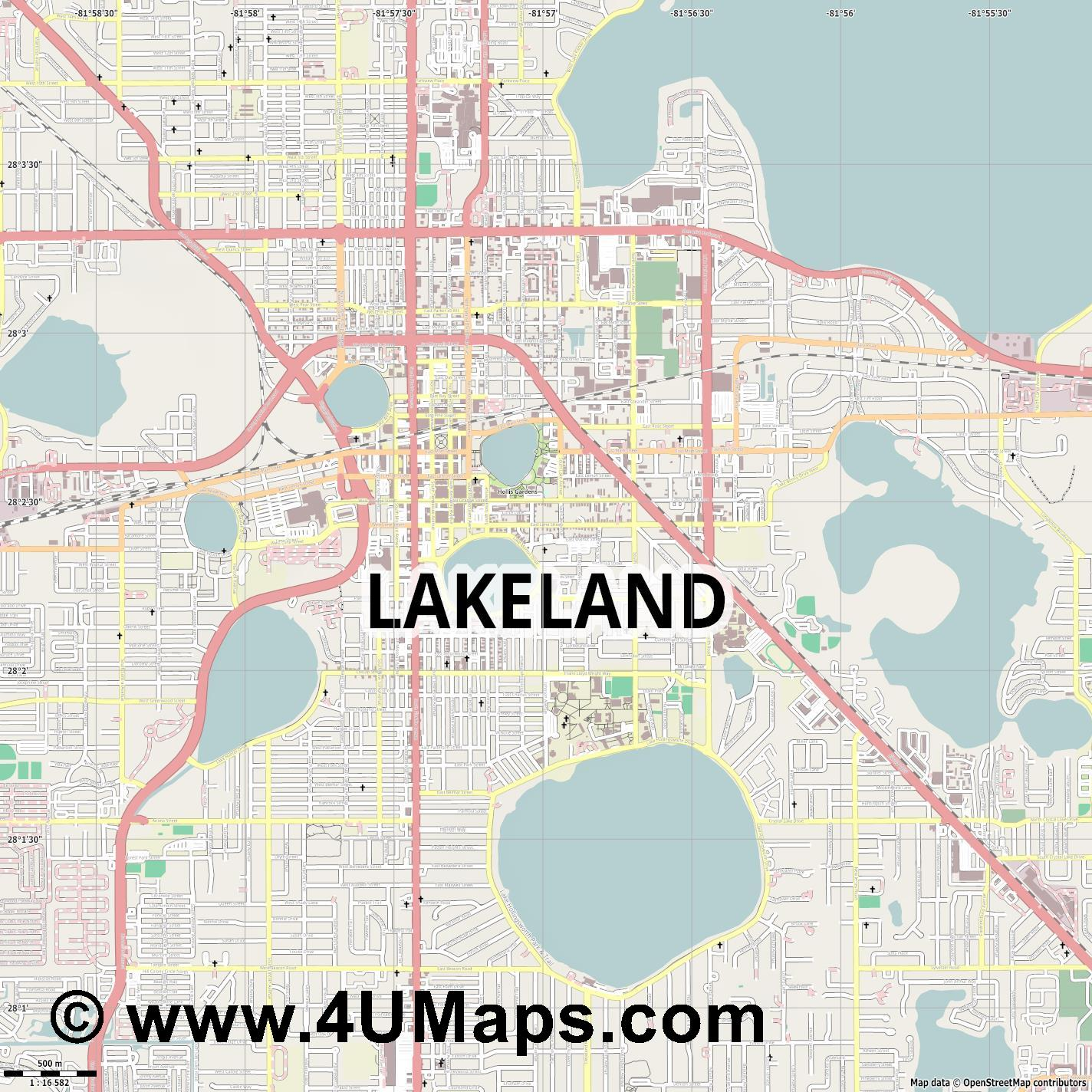 Lakeland  jpg ultra high detail preview vector city map