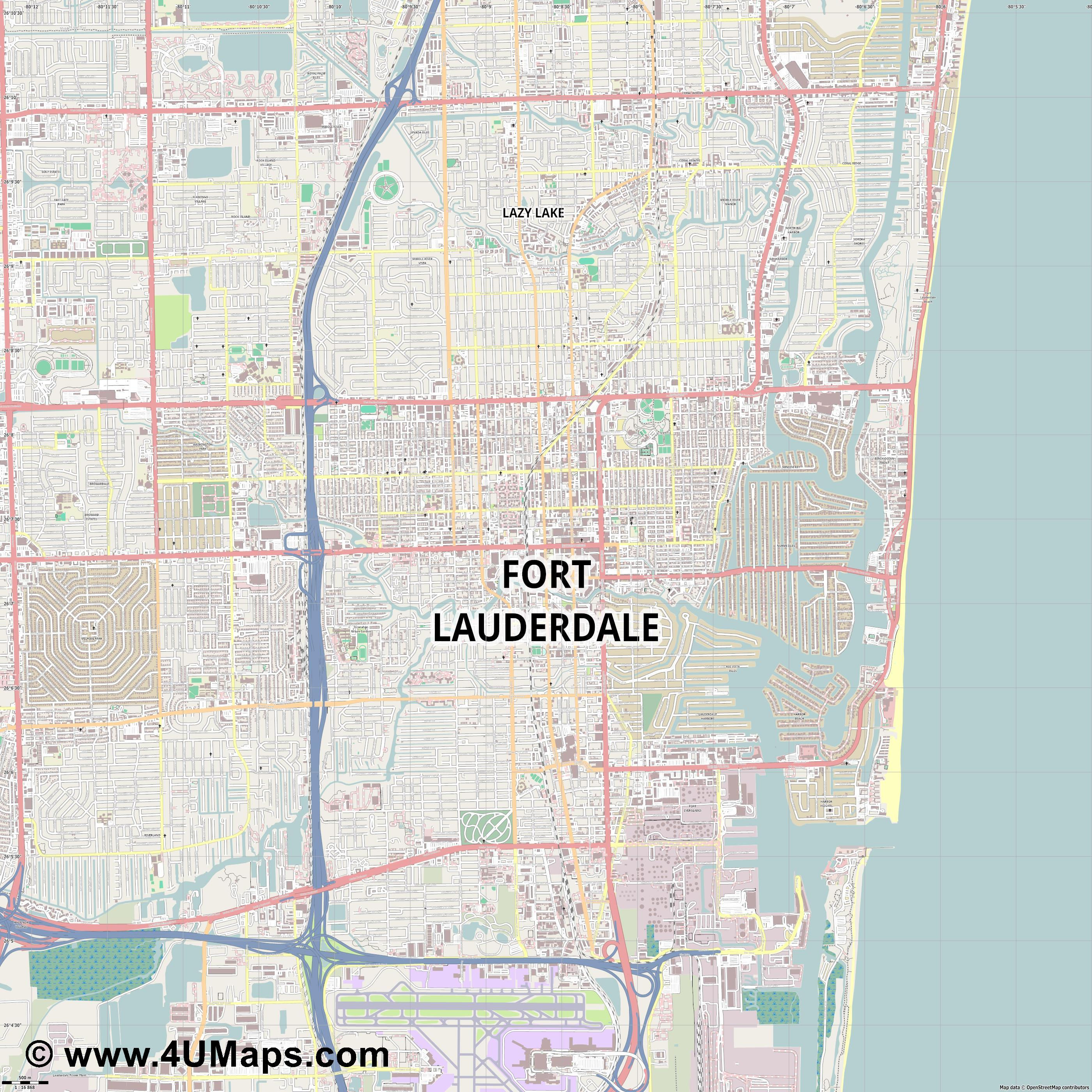 Fort Lauderdale  jpg ultra high detail preview vector city map