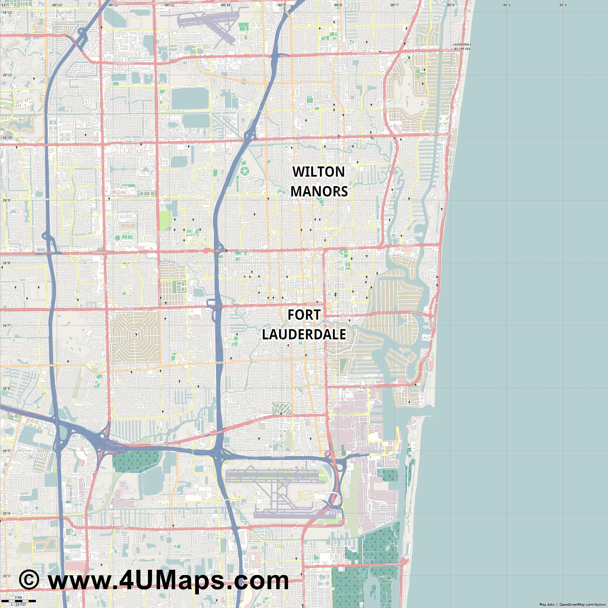 Fort Lauderdale  jpg high detail, large area preview vector city map