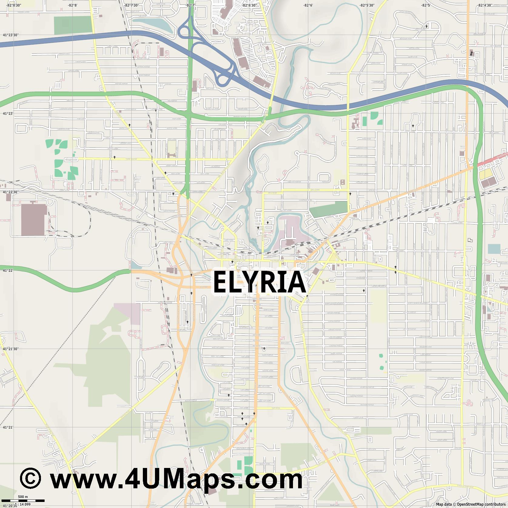 Elyria  jpg ultra high detail preview vector city map