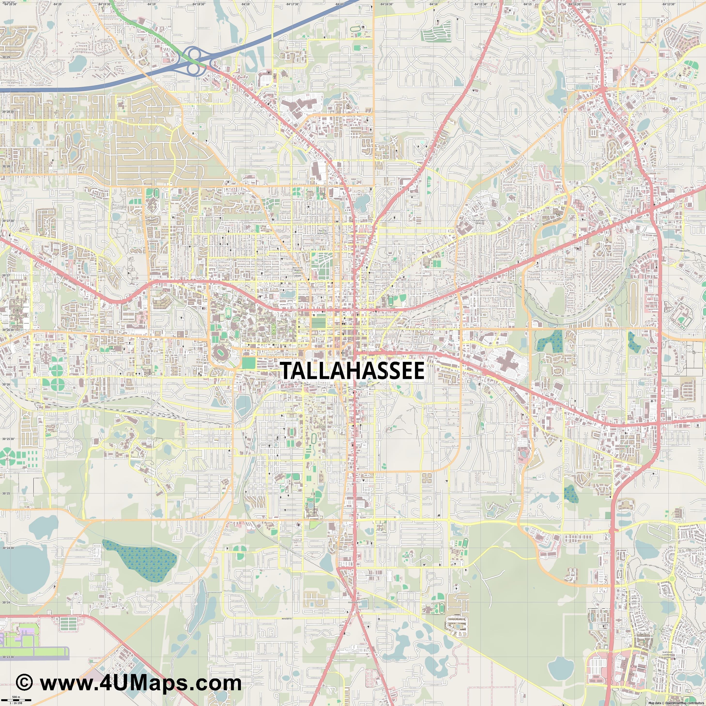 Tallahassee  jpg ultra high detail preview vector city map