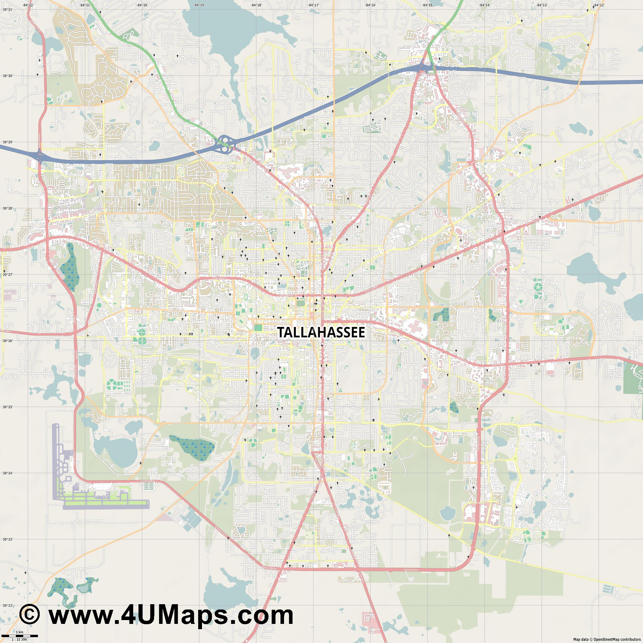 Tallahassee  jpg high detail, large area preview vector city map