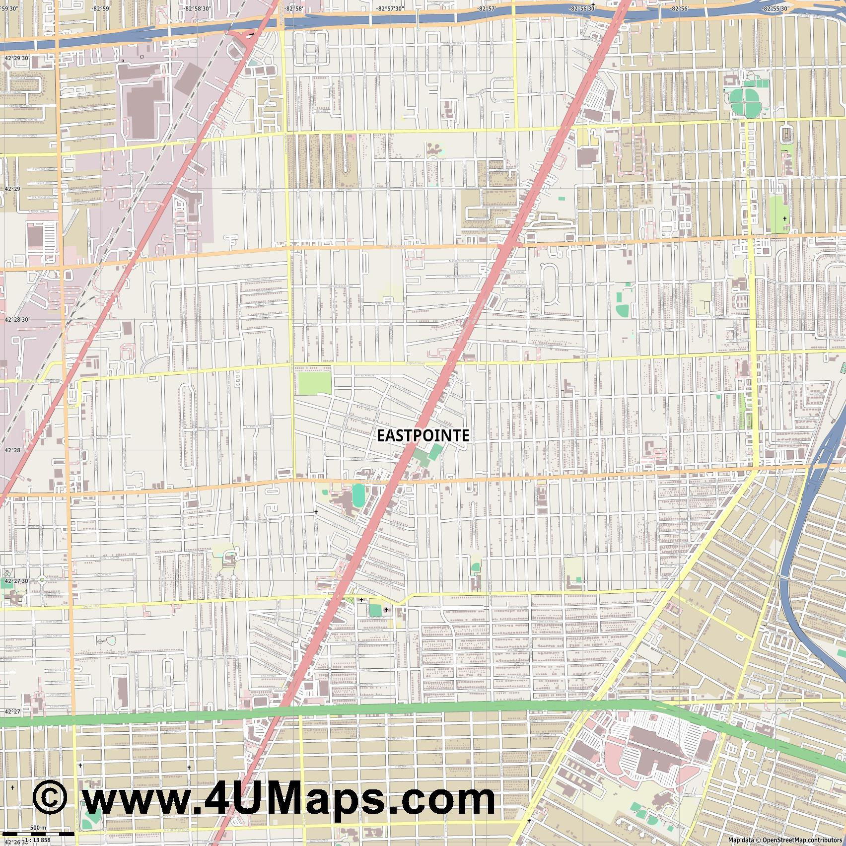 Eastpointe  jpg ultra high detail preview vector city map