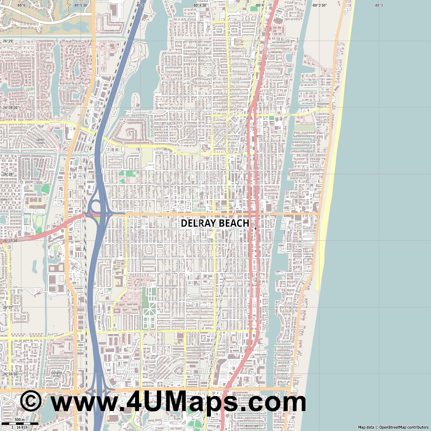Delray Beach  jpg ultra high detail preview vector city map