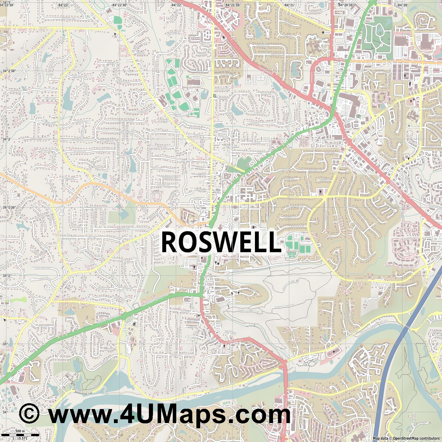 Roswell  jpg ultra high detail preview vector city map