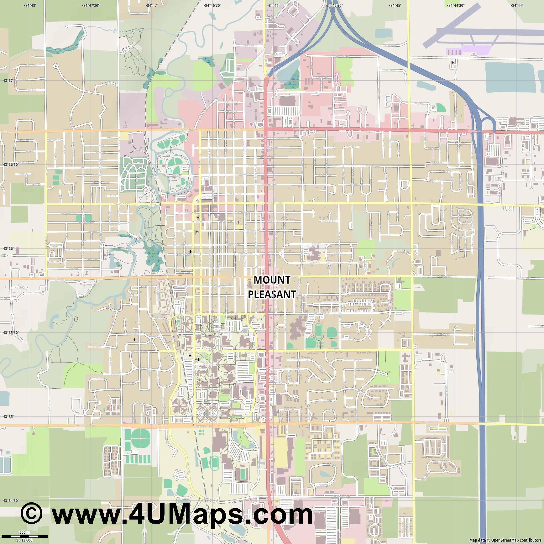 Mount Pleasant  jpg ultra high detail preview vector city map