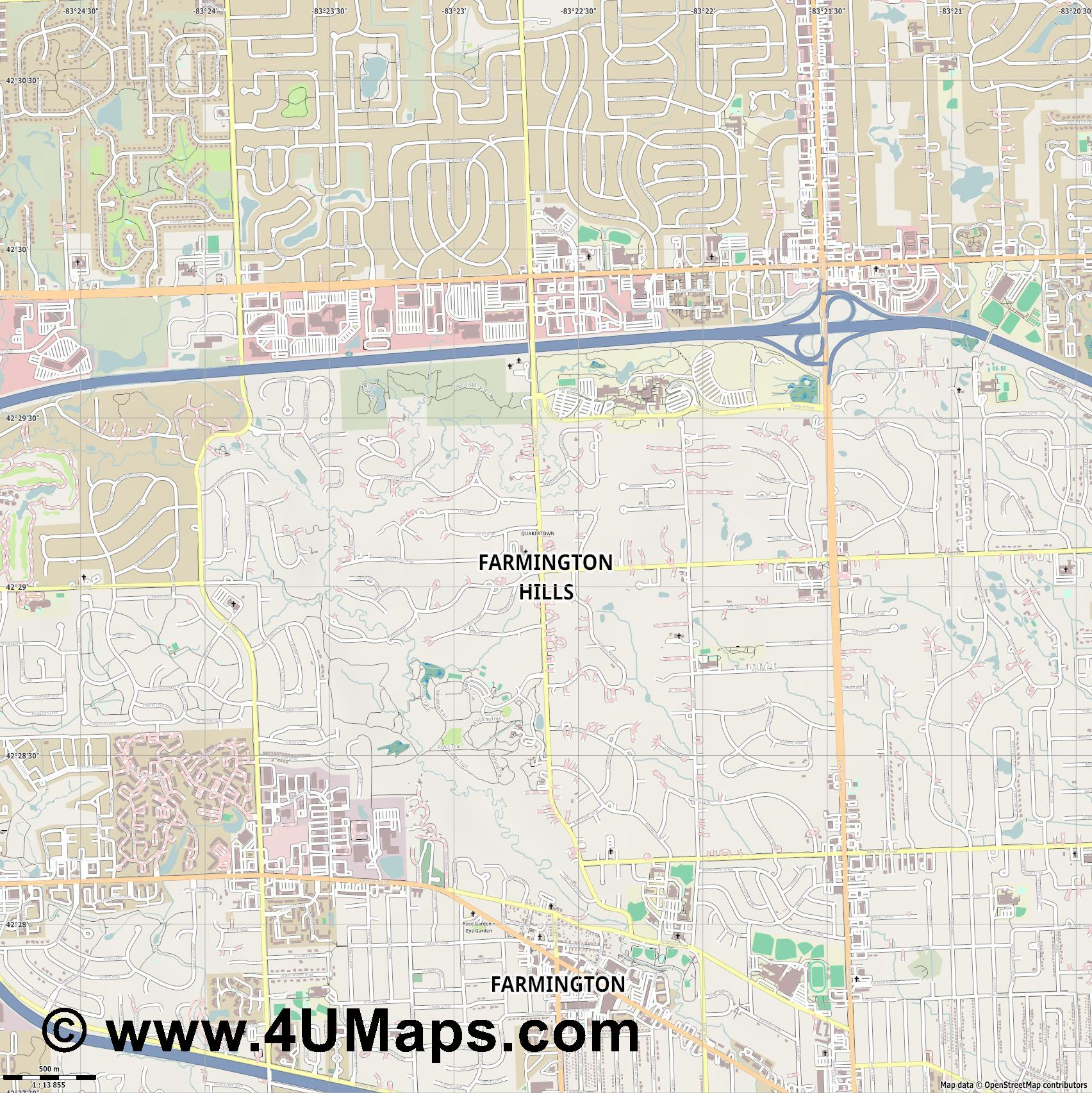 Farmington Hills  jpg ultra high detail preview vector city map