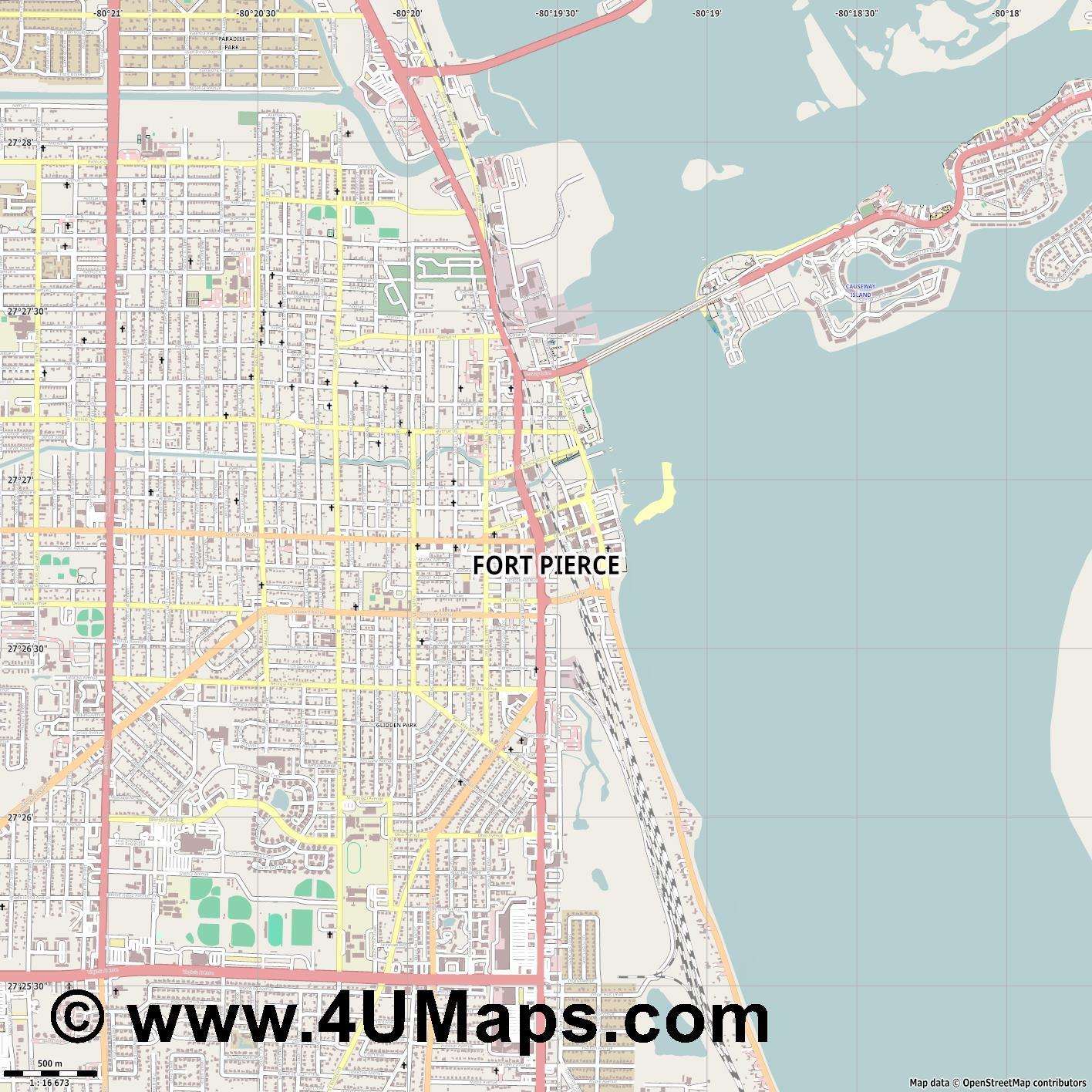 Fort Pierce  jpg ultra high detail preview vector city map